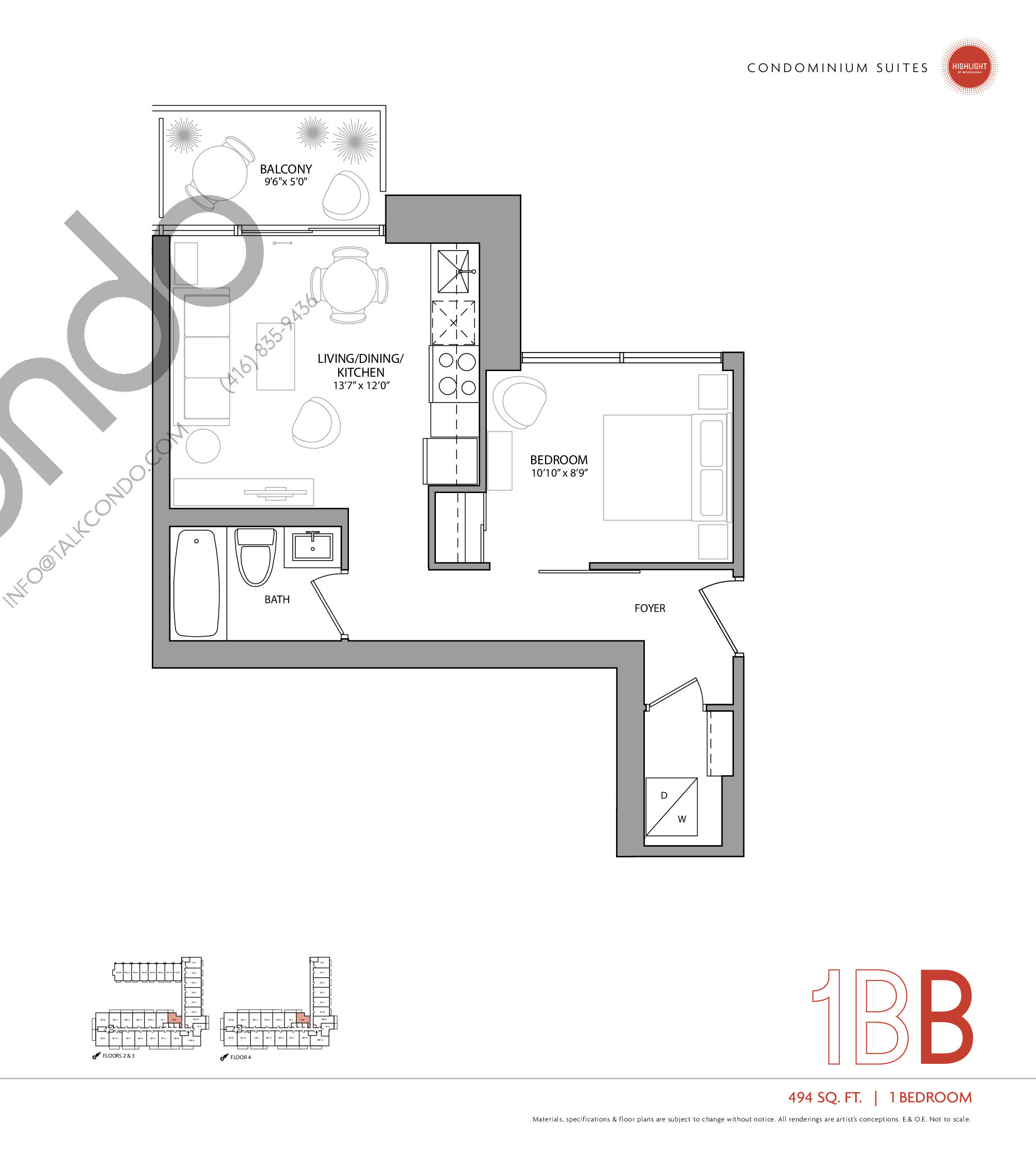 1BB Floor Plan at Highlight Condos and Towns - 494 sq.ft