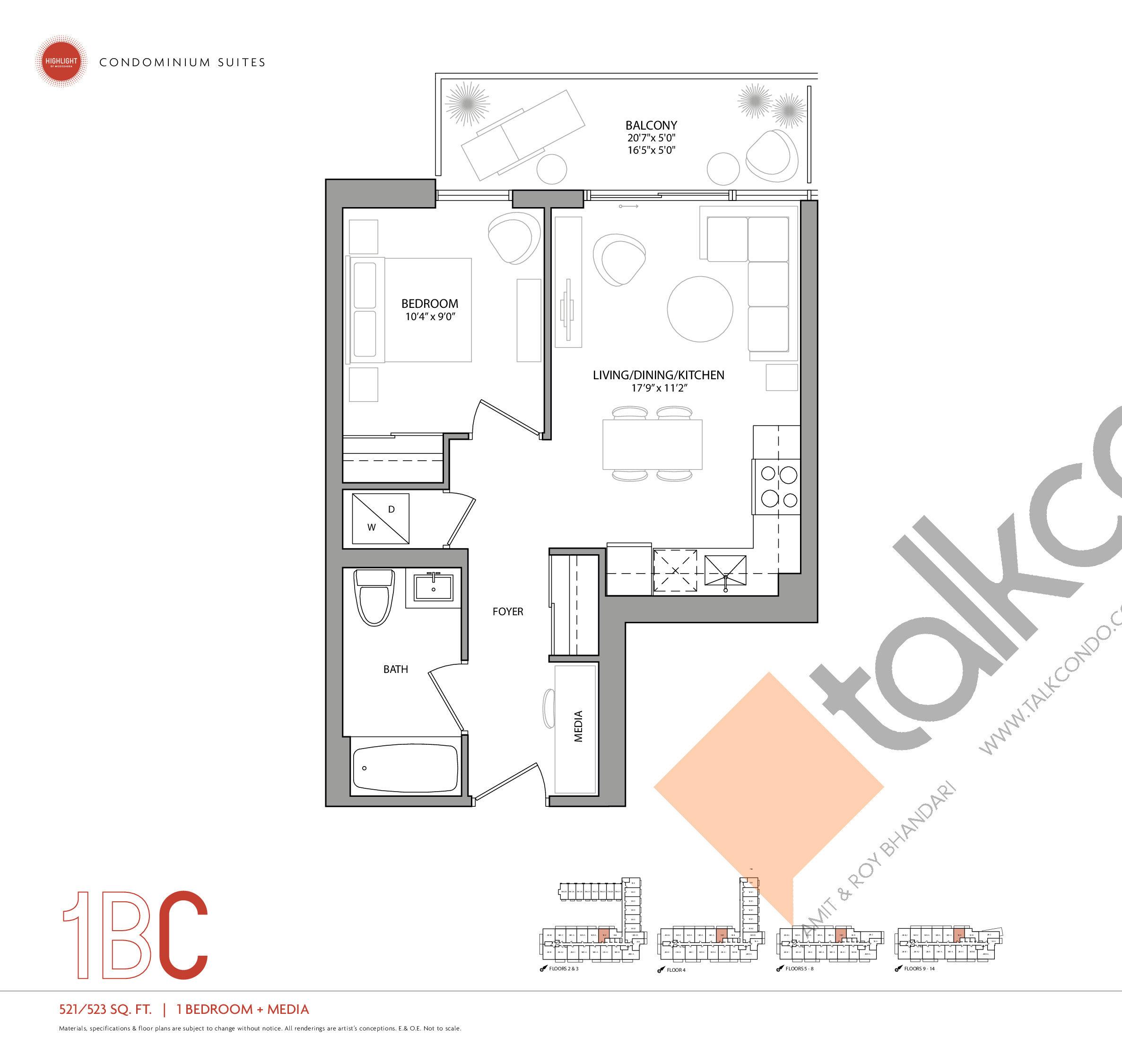 1BC Floor Plan at Highlight Condos and Towns - 523 sq.ft
