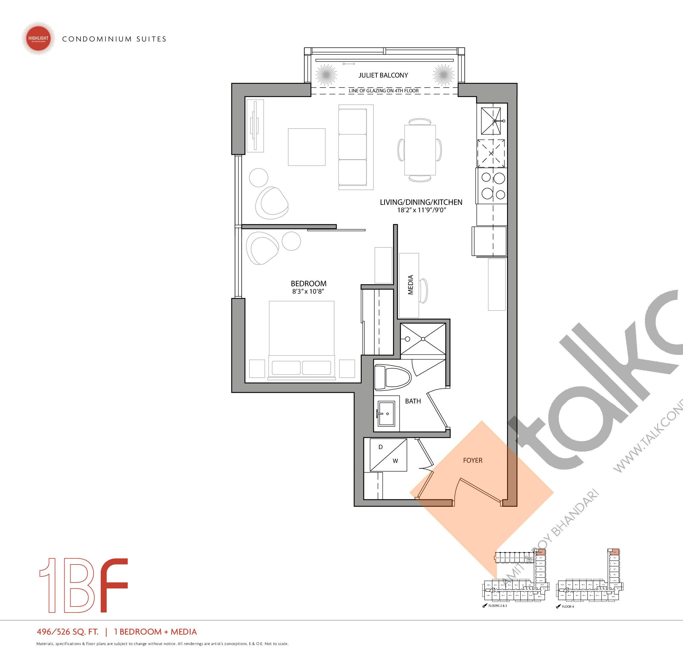 1BF Floor Plan at Highlight Condos and Towns - 526 sq.ft