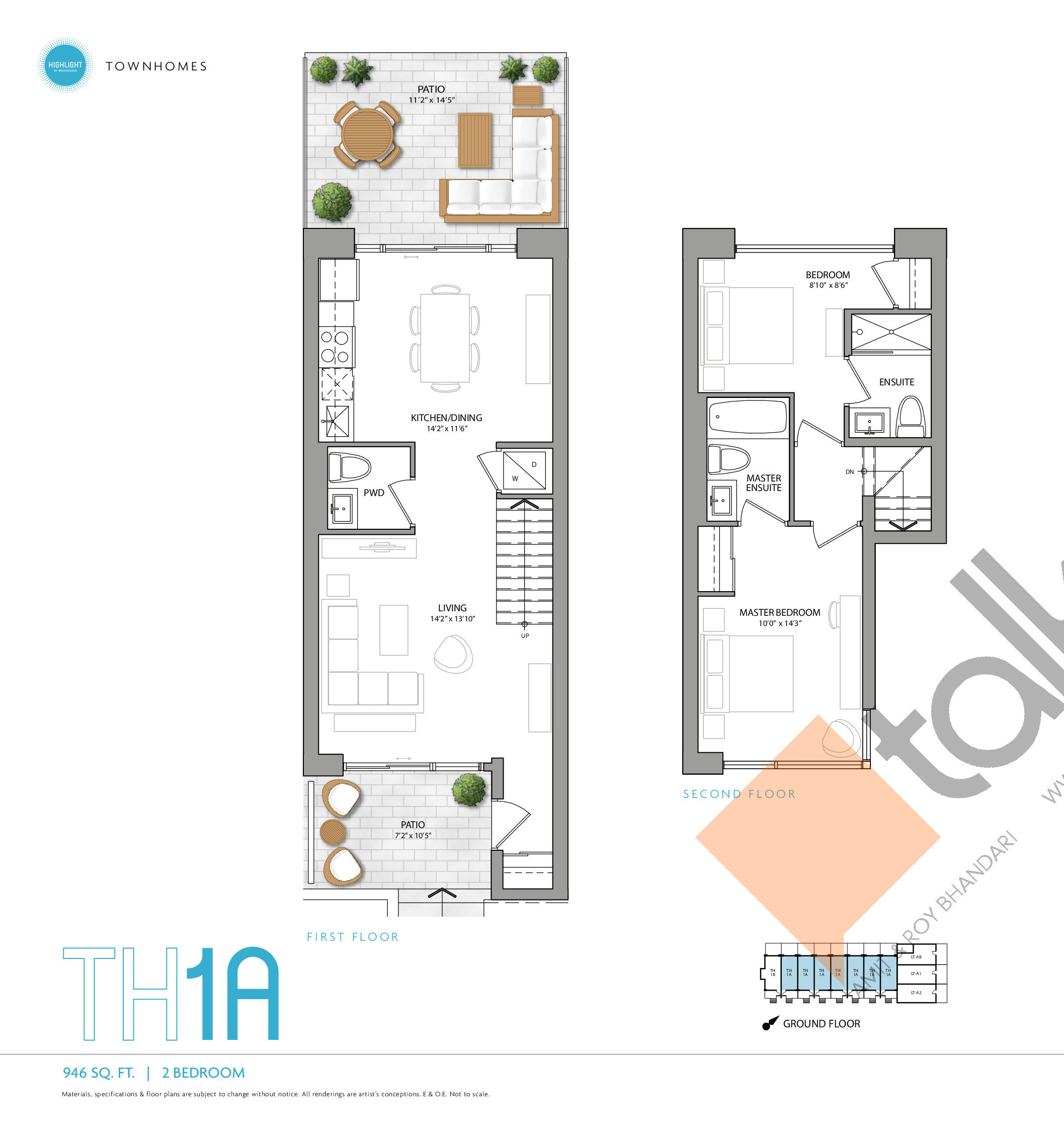 TH1A Floor Plan at Highlight Condos and Towns - 946 sq.ft