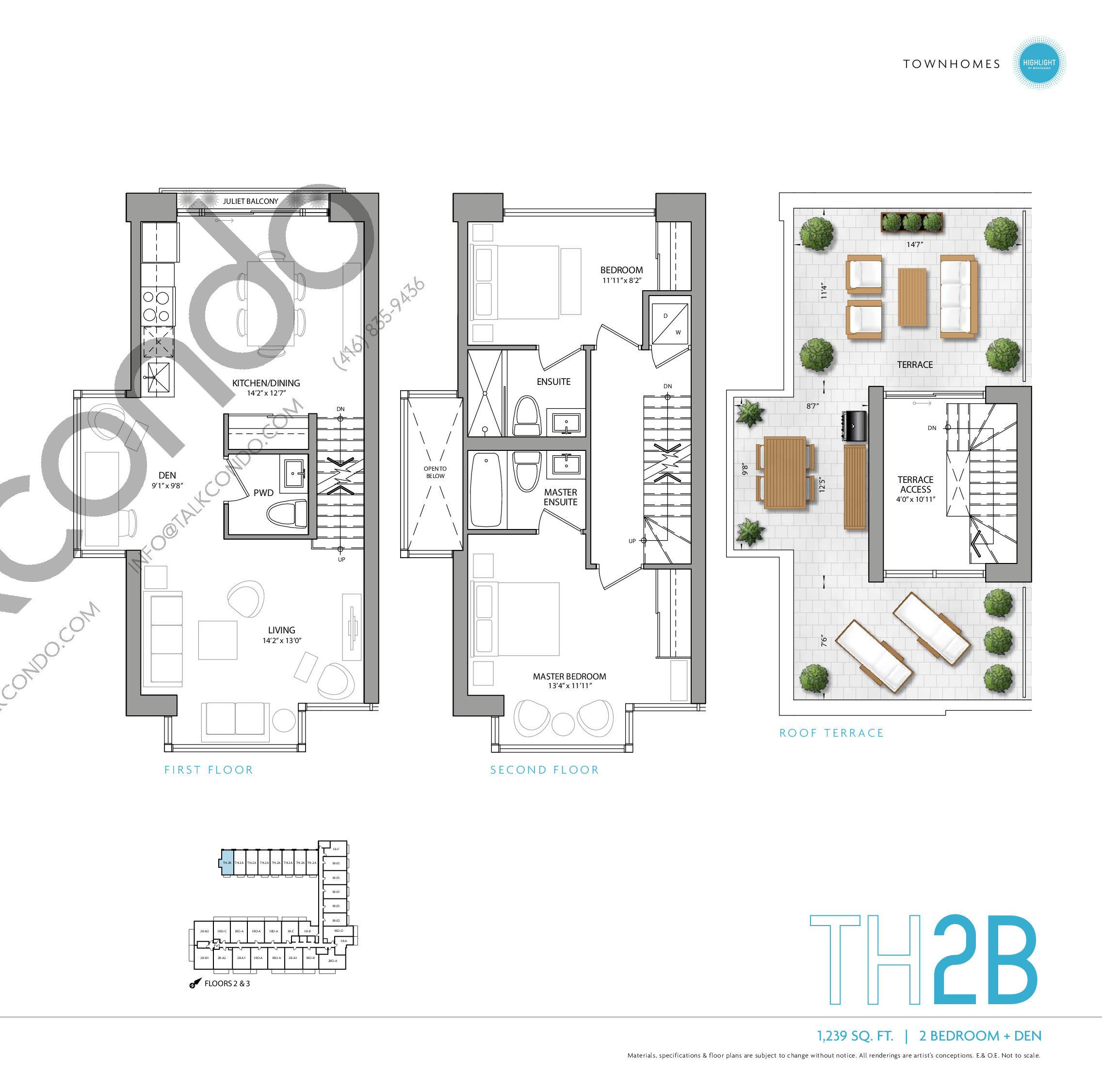 TH2B Floor Plan at Highlight Condos and Towns - 1239 sq.ft