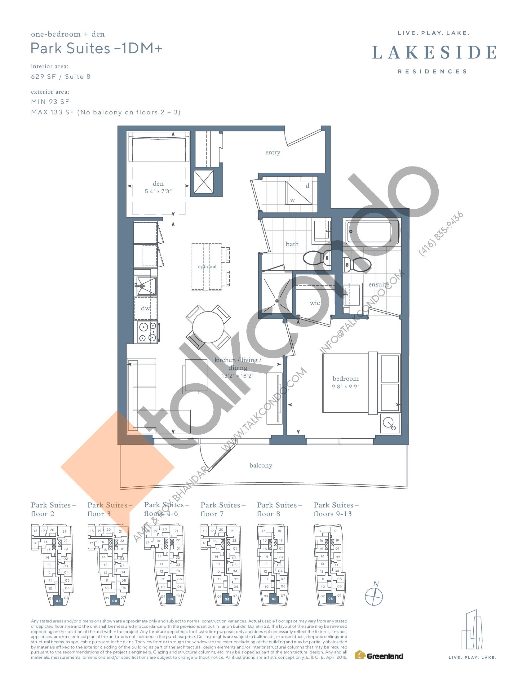 Park Suites - 1DM+ Floor Plan at Lakeside Residences - 629 sq.ft