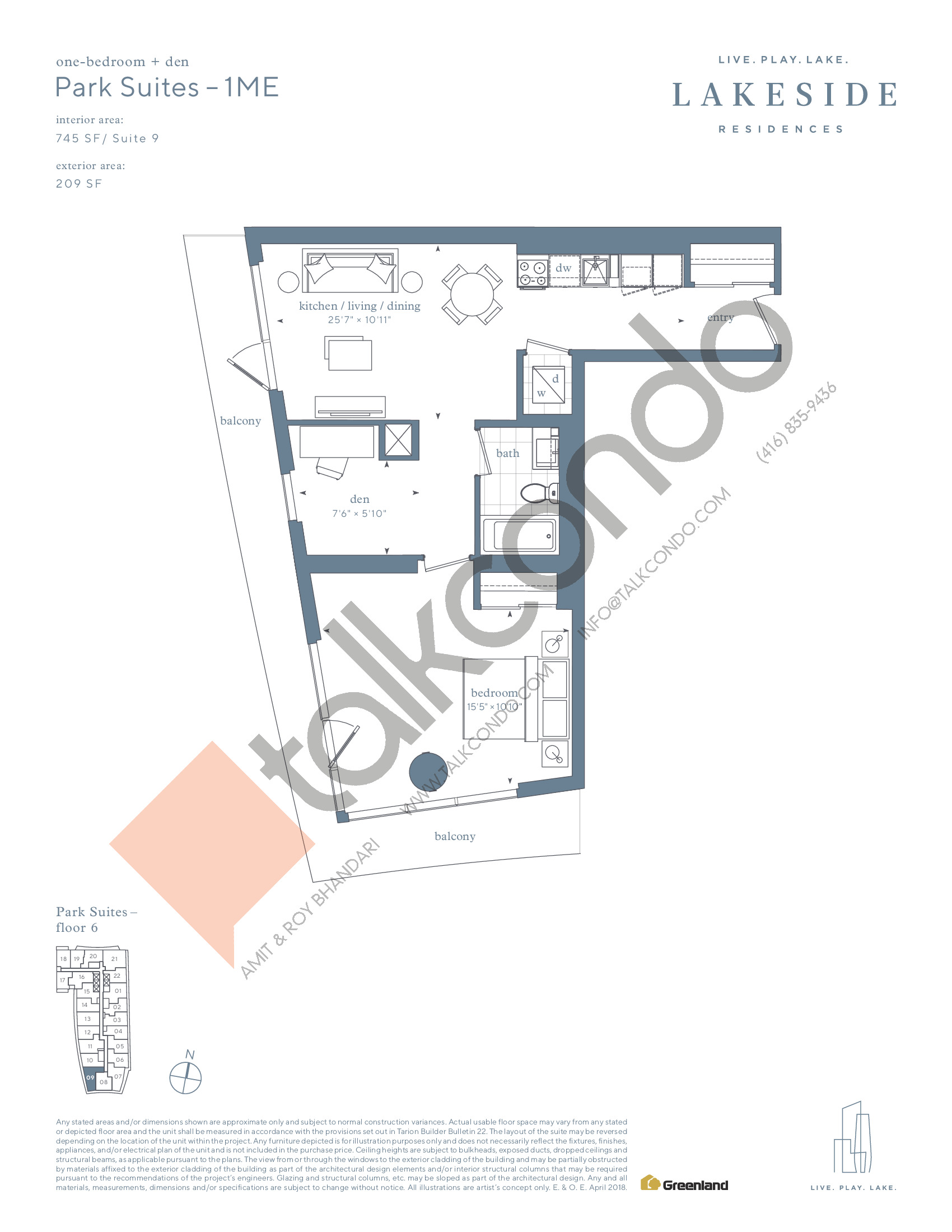 Park Suites - 1ME Floor Plan at Lakeside Residences - 745 sq.ft