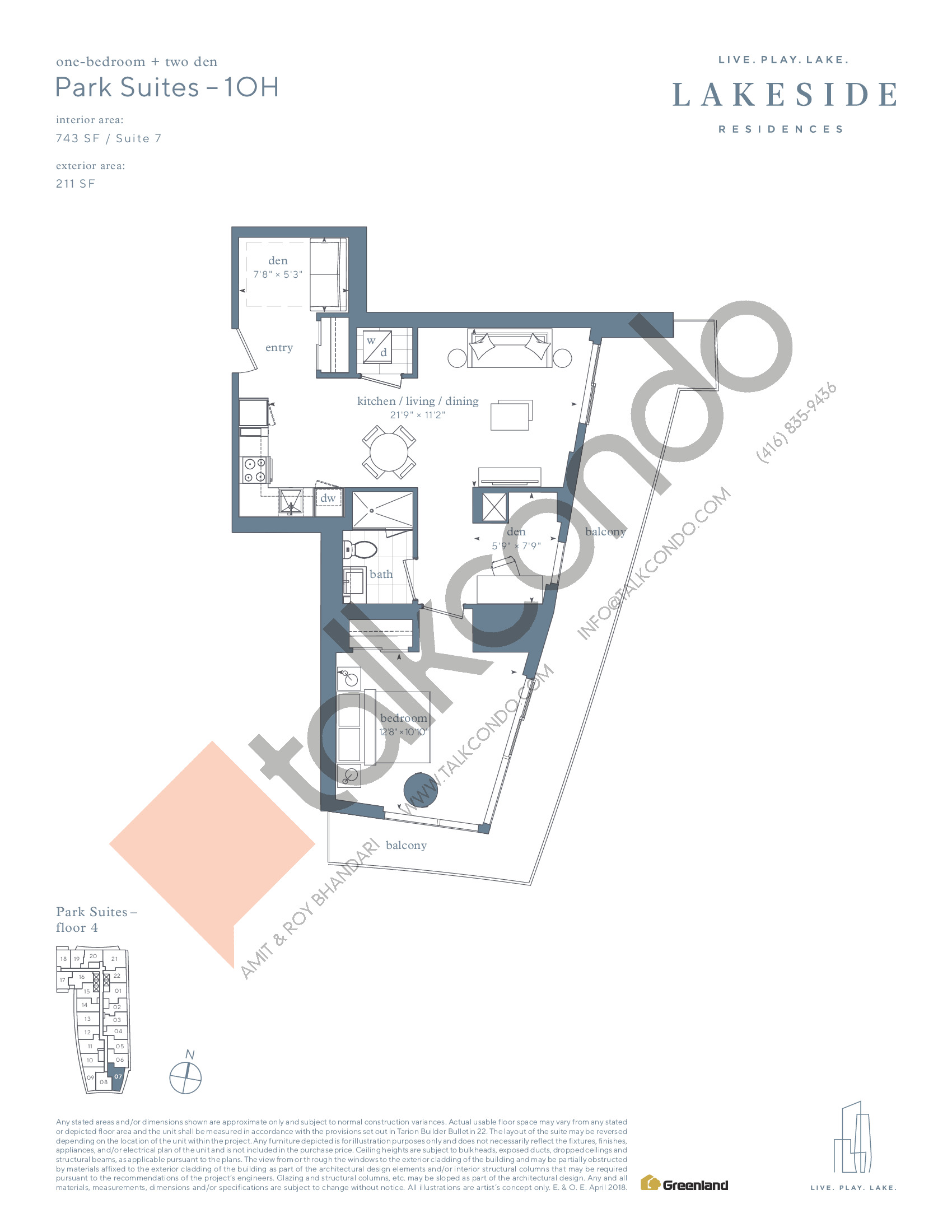 Park Suites - 1OH Floor Plan at Lakeside Residences - 743 sq.ft