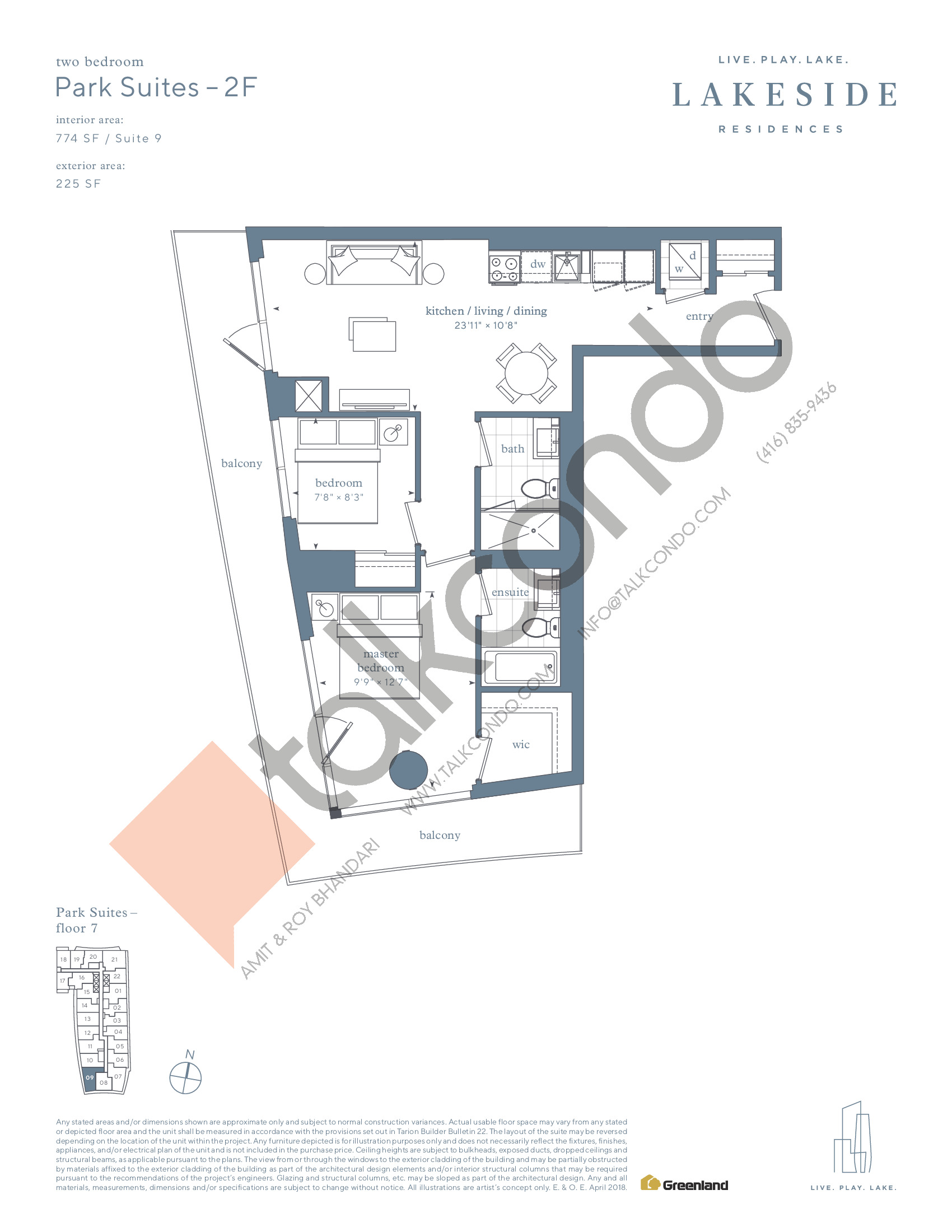 Park Suites - 2F Floor Plan at Lakeside Residences - 774 sq.ft