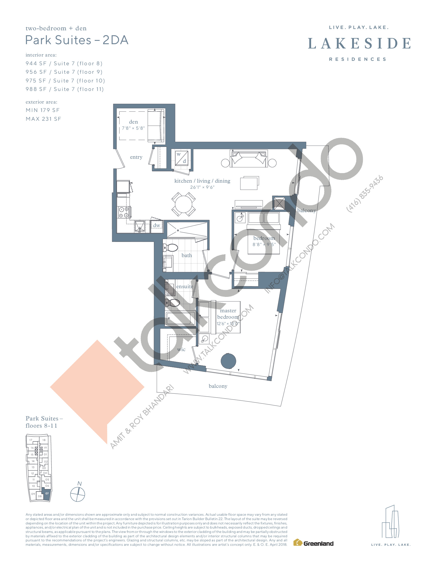 Park Suites - 2DA Floor Plan at Lakeside Residences - 988 sq.ft