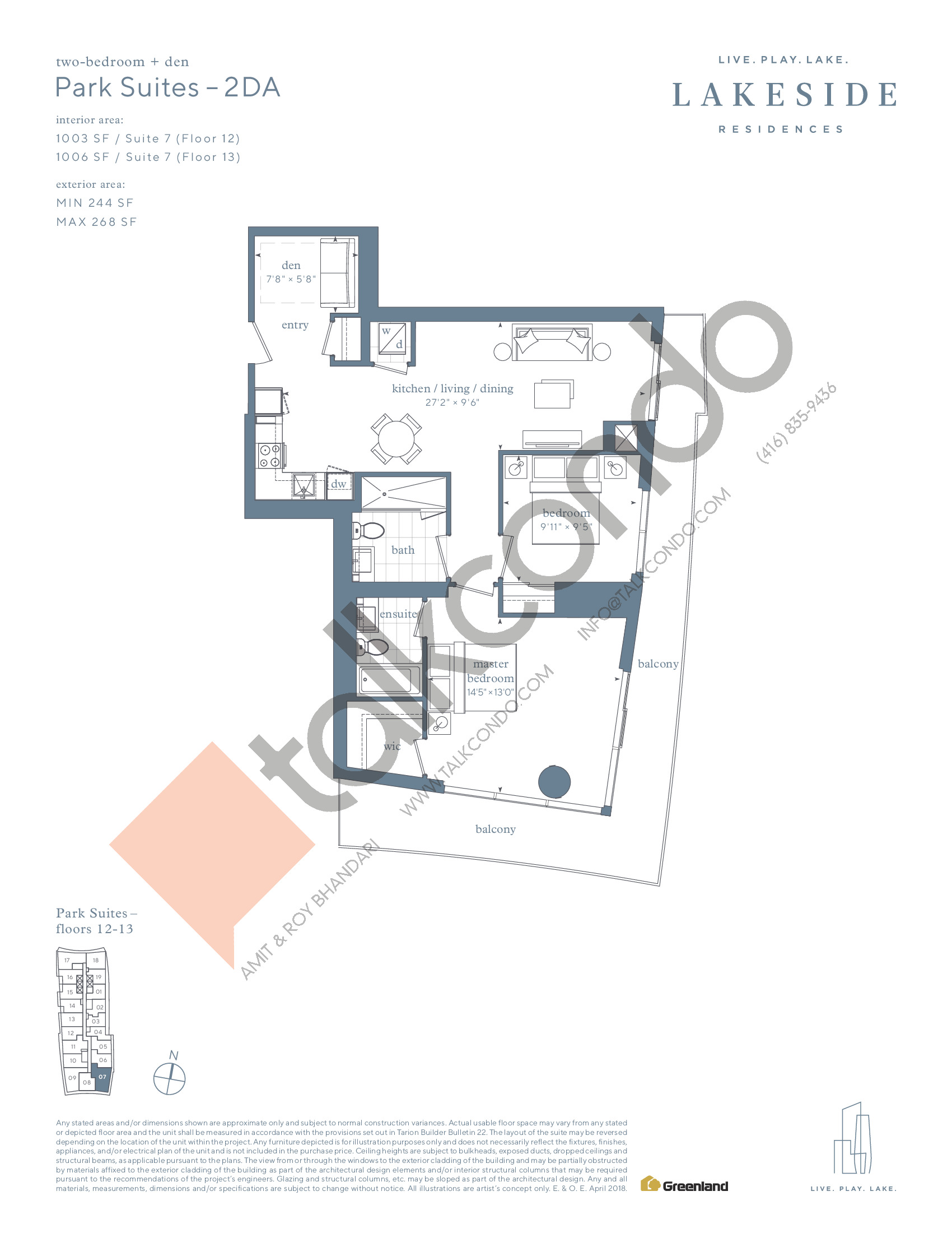 Park Suites - 2DA Floor Plan at Lakeside Residences - 1006 sq.ft