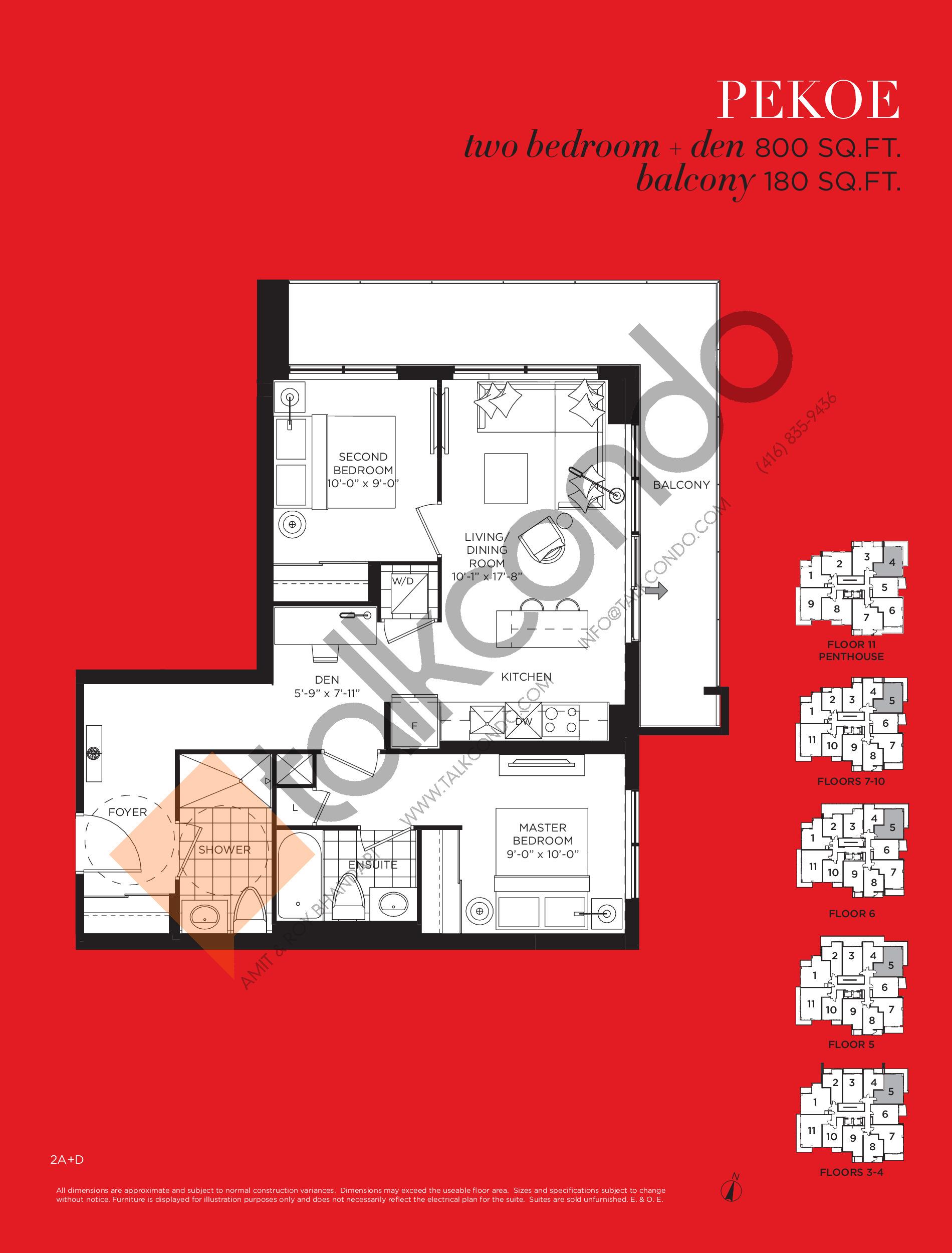 Pekoe Floor Plan at Tea Garden Condos - 800 sq.ft