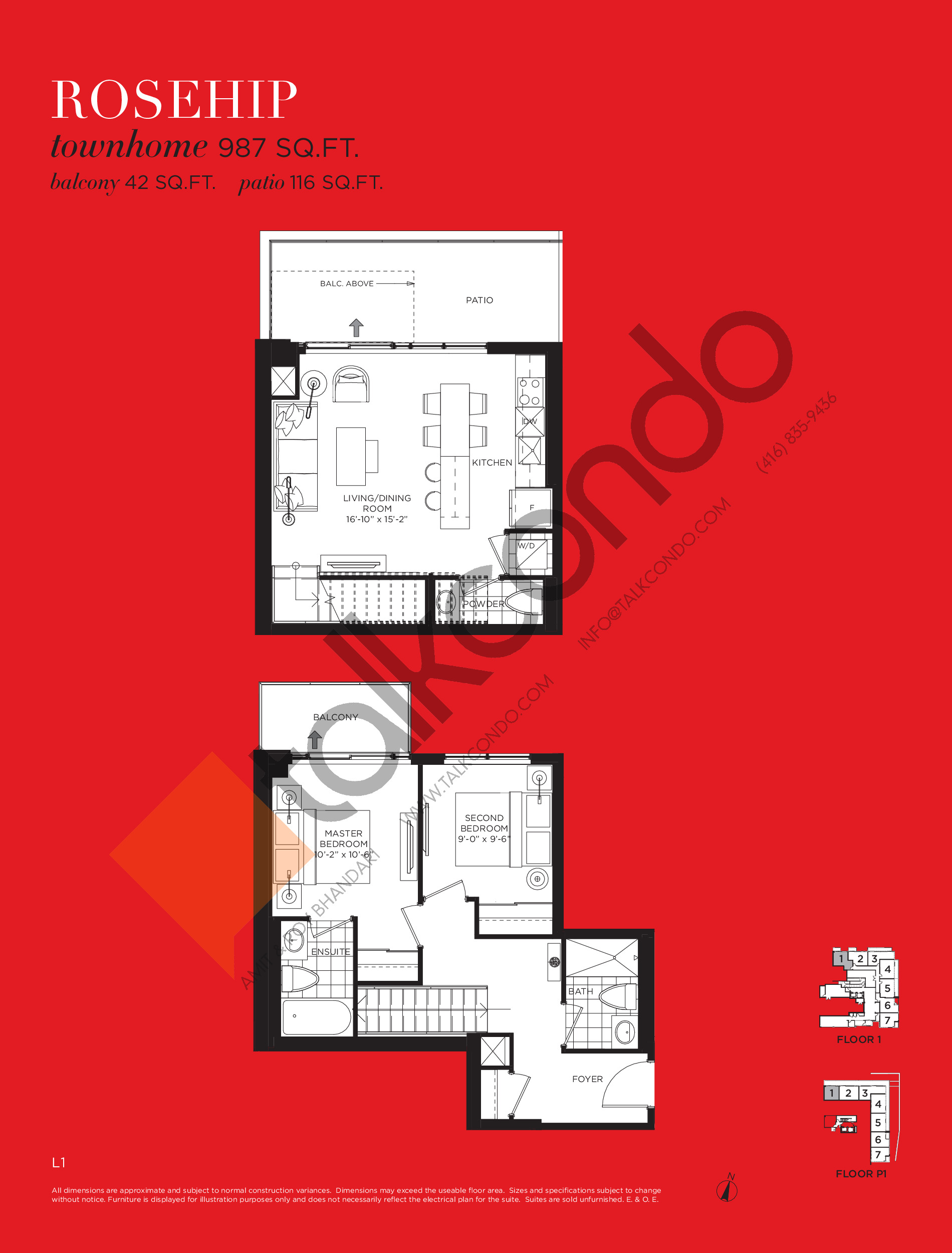 Rosehip Floor Plan at Tea Garden Condos - 987 sq.ft