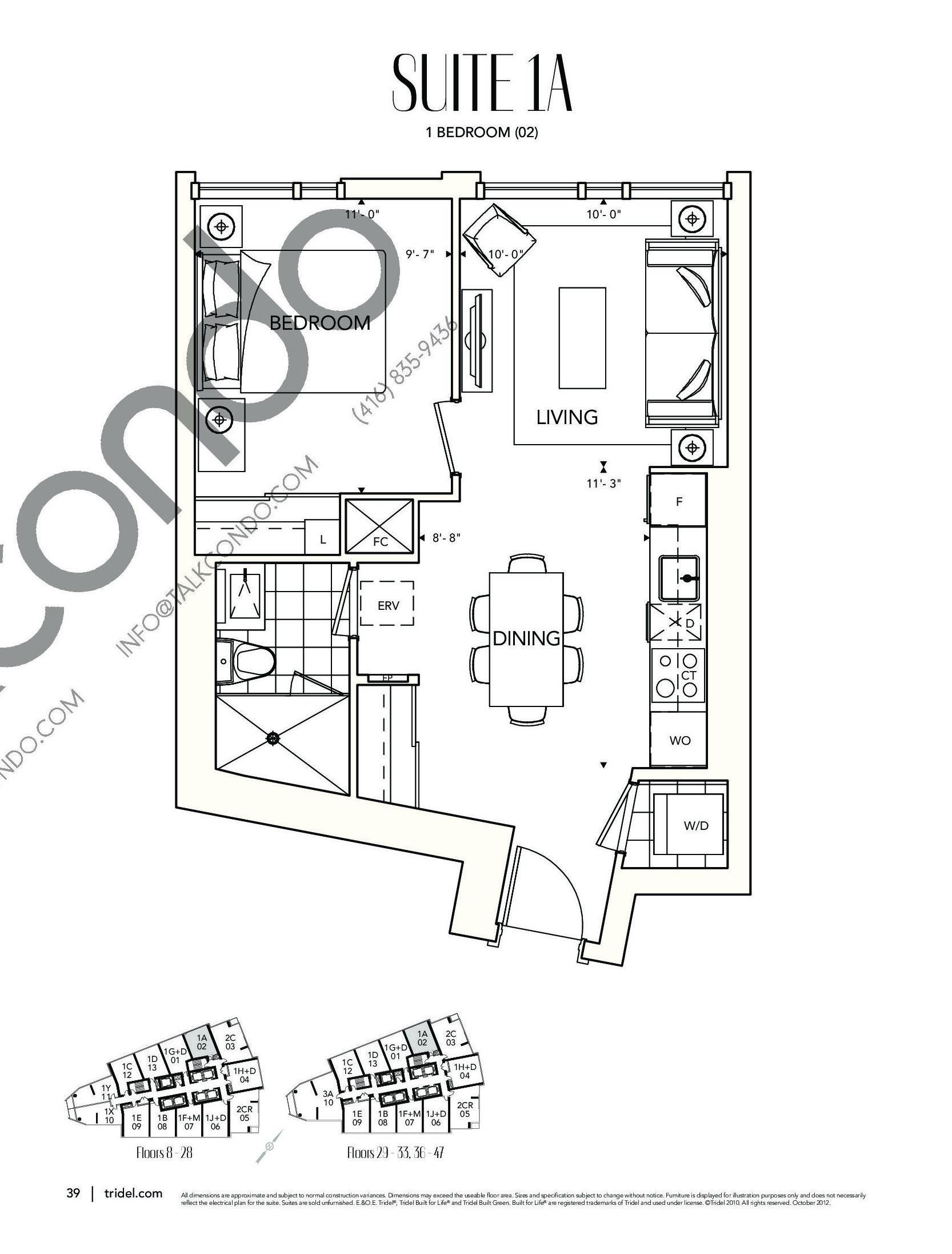 Suite 1A Floor Plan at Ten York Condos - 564 sq.ft