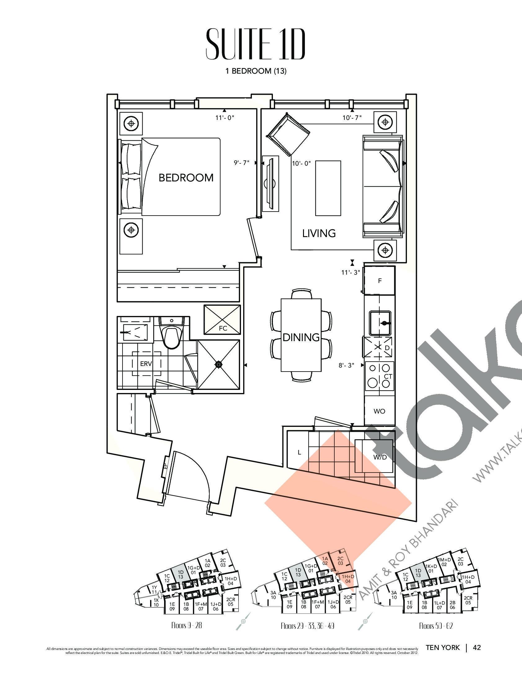 Suite 1D Floor Plan at Ten York Condos - 586 sq.ft