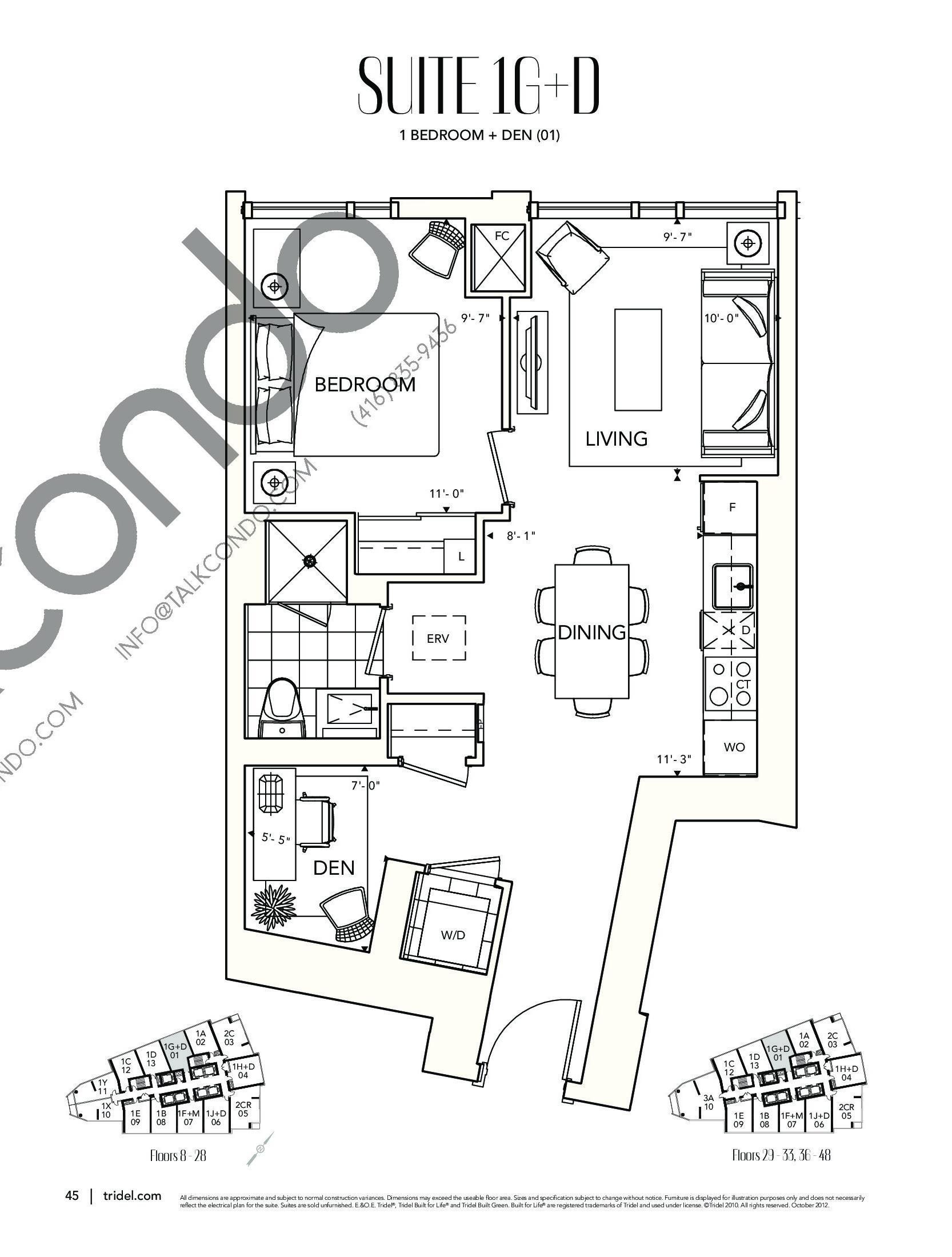 Suite 1G+D Floor Plan at Ten York Condos - 630 sq.ft