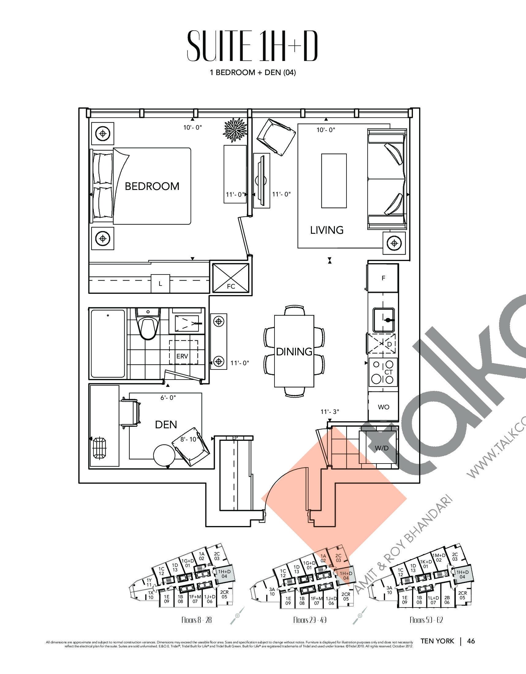 Suite 1H+D Floor Plan at Ten York Condos - 649 sq.ft