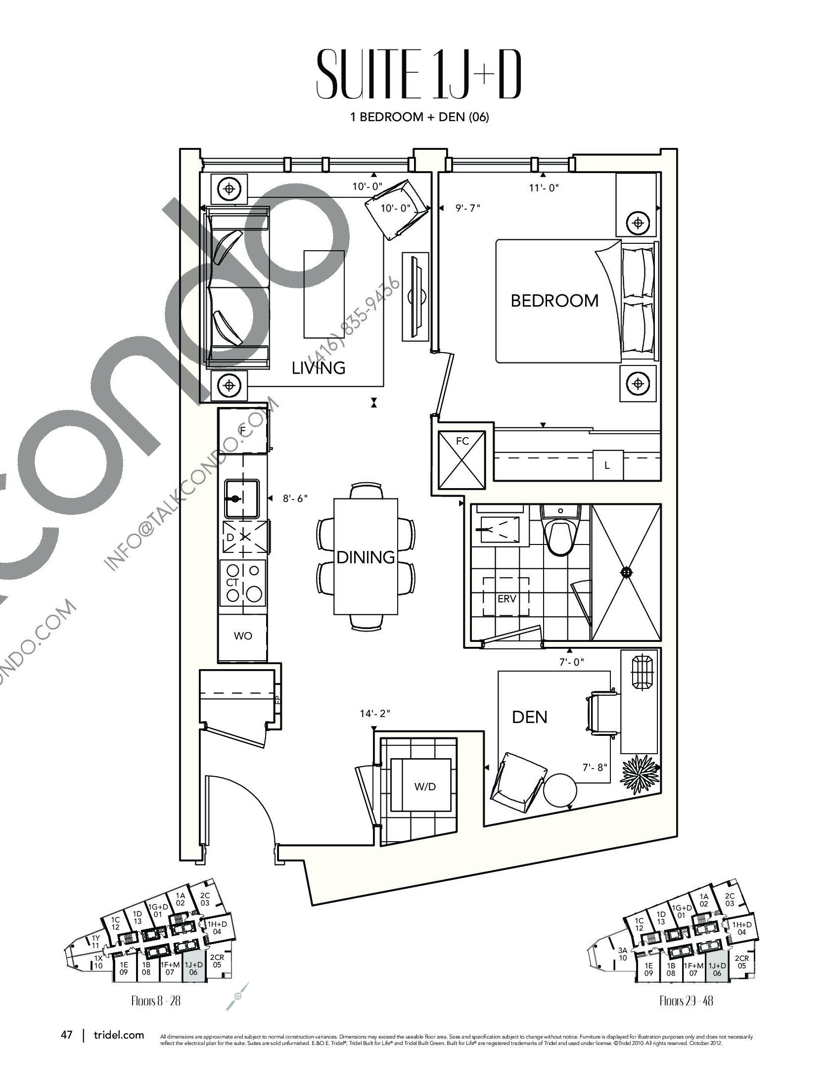 Suite 1J+D Floor Plan at Ten York Condos - 651 sq.ft