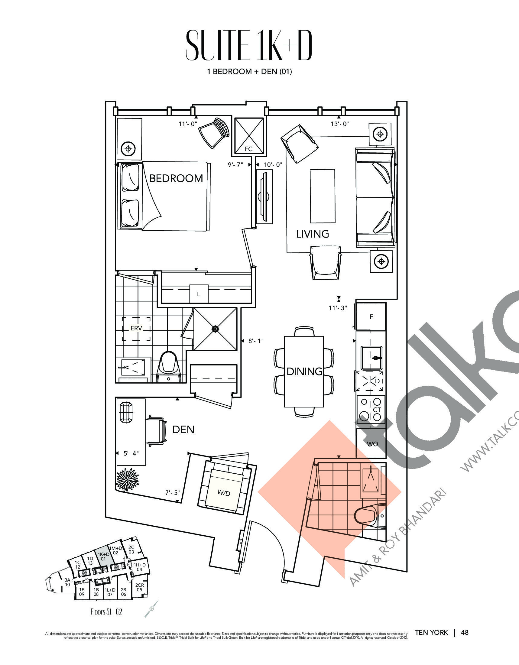 Suite 1K+D Floor Plan at Ten York Condos - 678 sq.ft