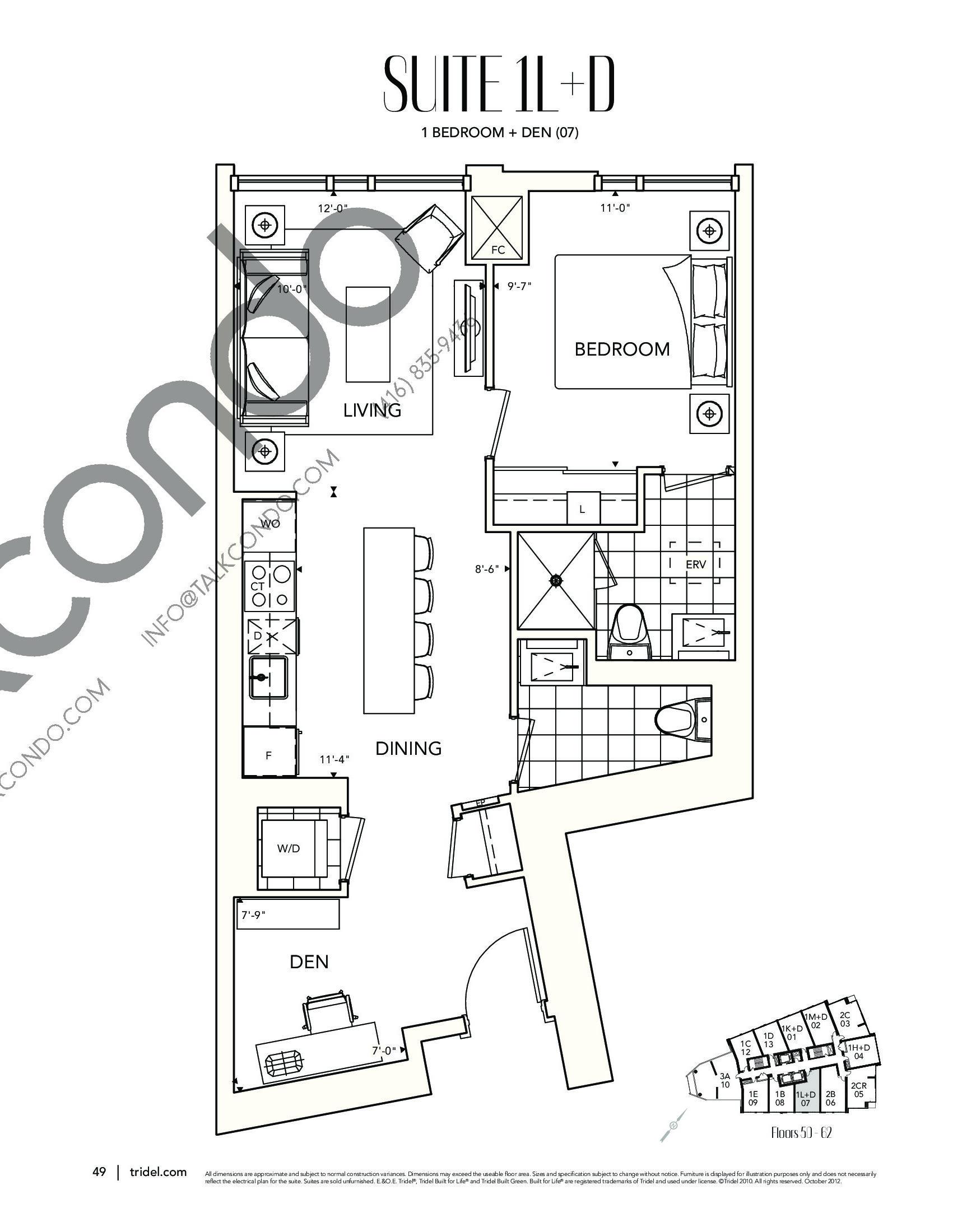 Suite 1L+D Floor Plan at Ten York Condos - 698 sq.ft