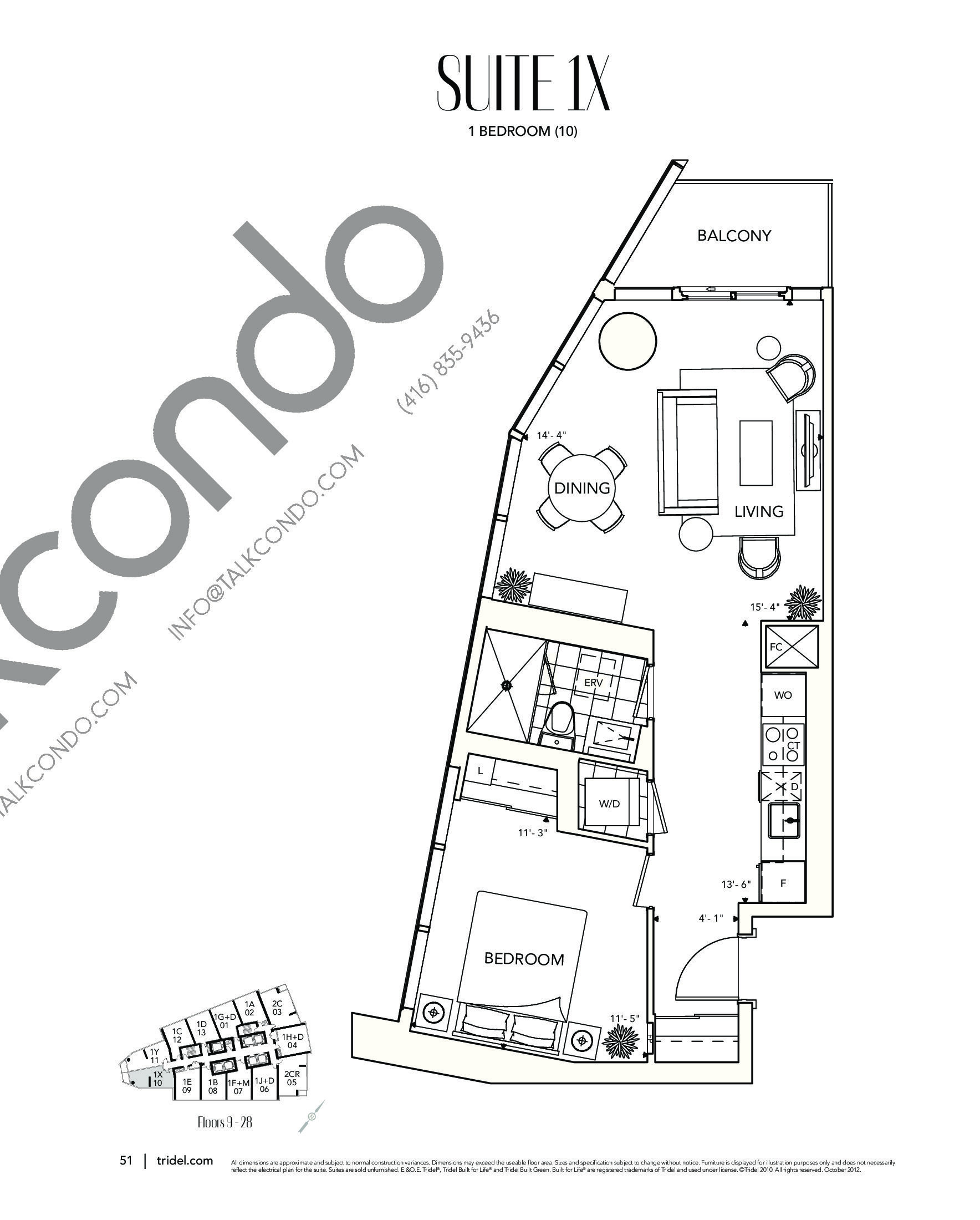 Suite 1X Floor Plan at Ten York Condos - 625 sq.ft