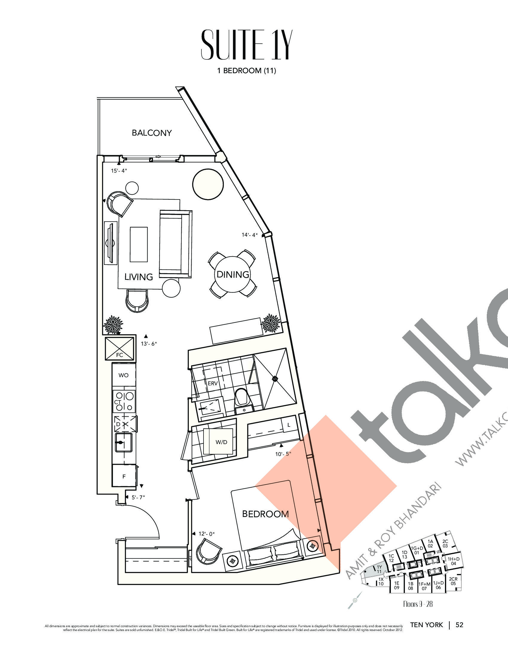Suite 1Y Floor Plan at Ten York Condos - 639 sq.ft