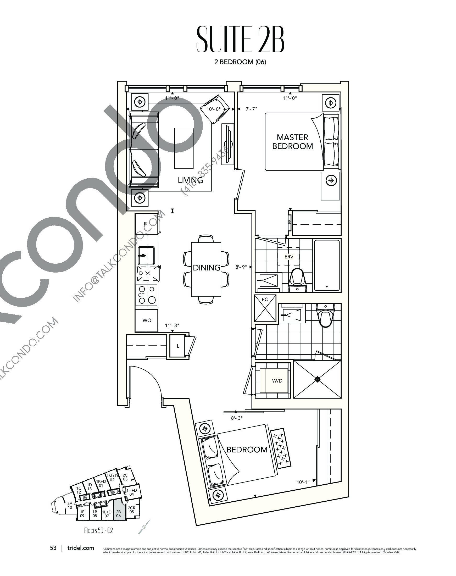 Suite 2B Floor Plan at Ten York Condos - 791 sq.ft