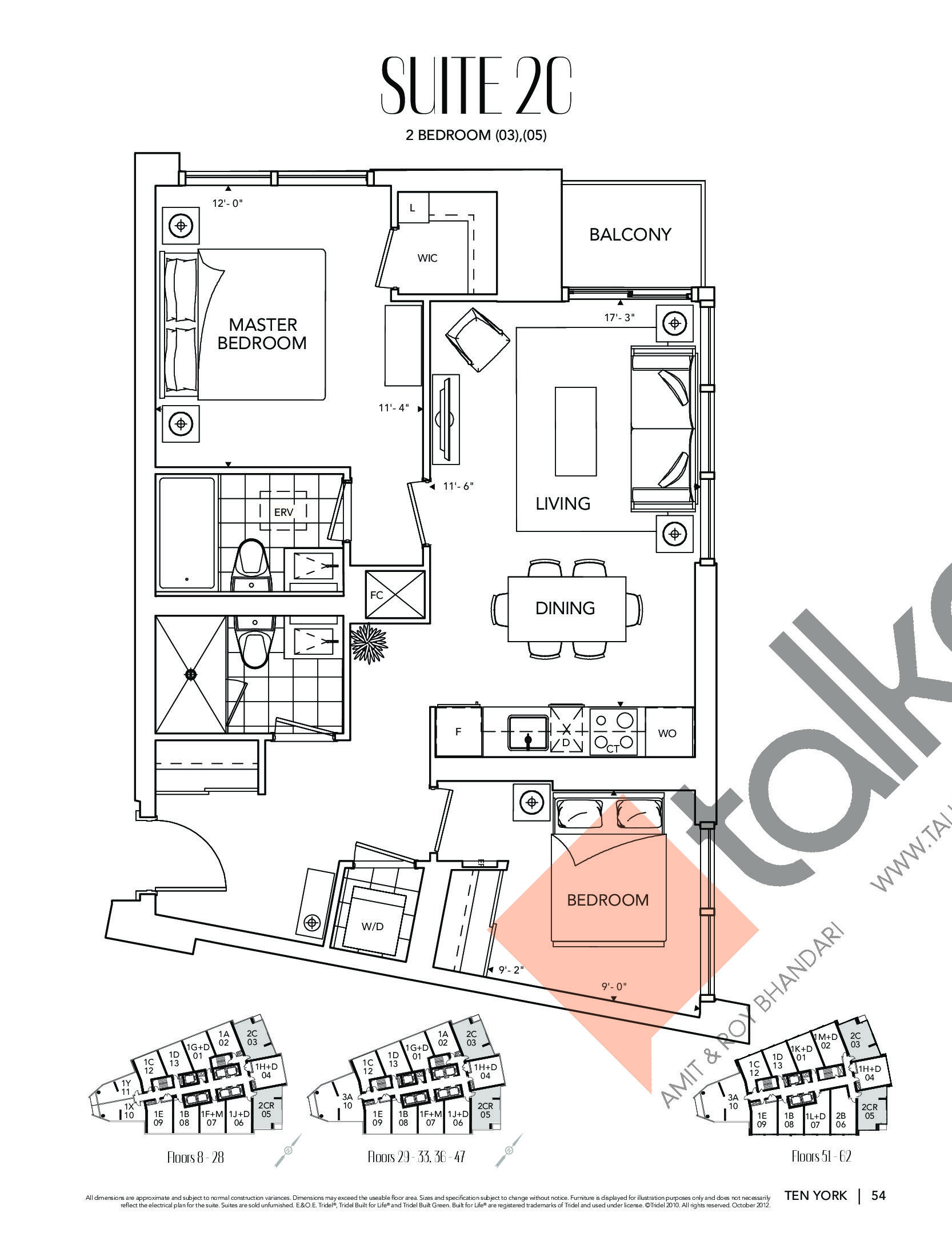 Suite 2C Floor Plan at Ten York Condos - 830 sq.ft