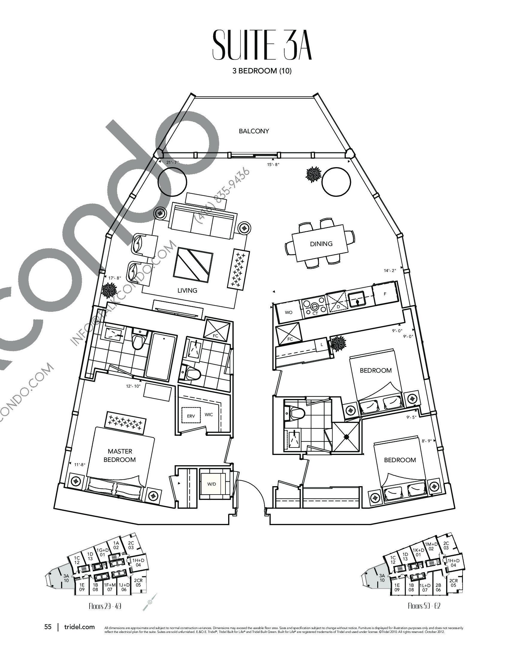 Suite 3A Floor Plan at Ten York Condos - 1305 sq.ft