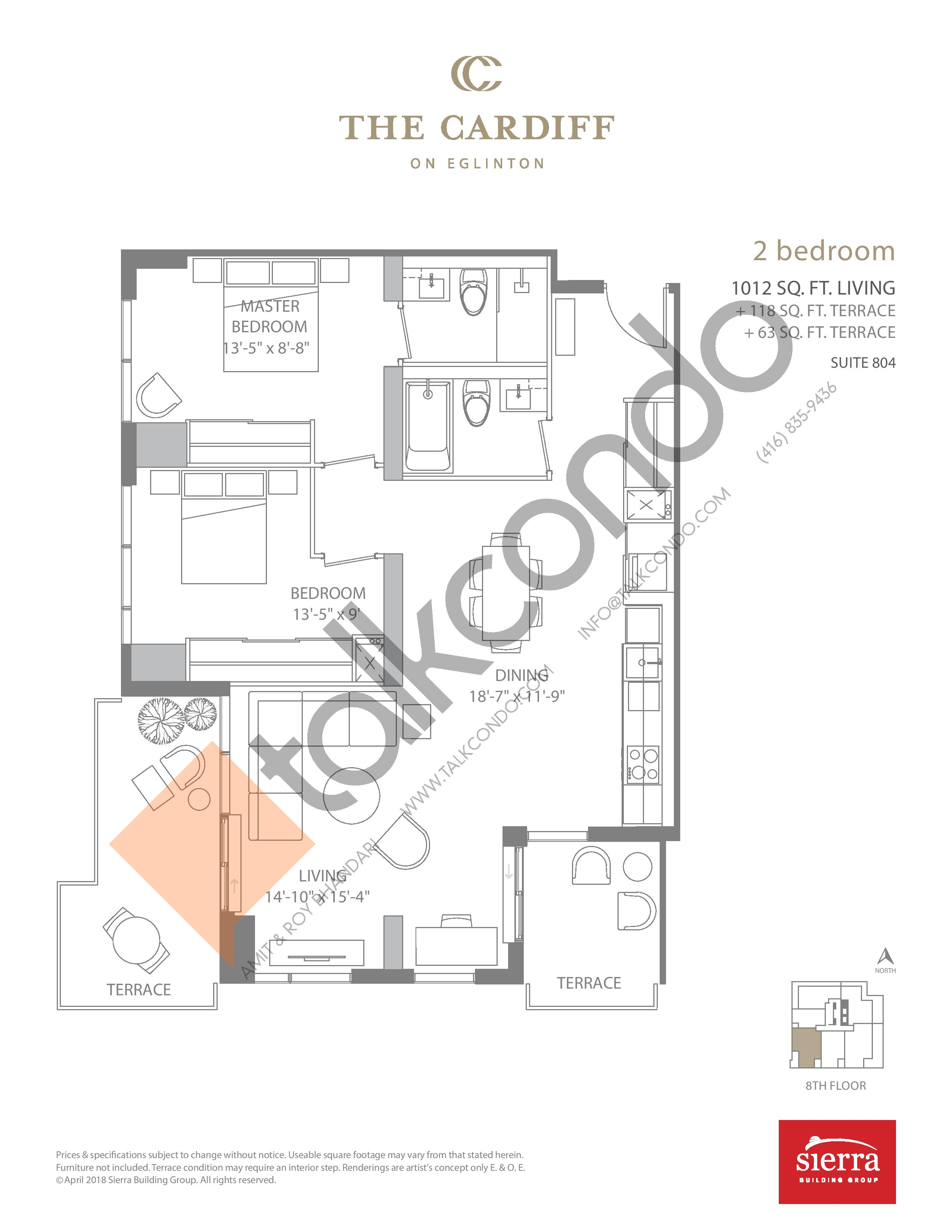 Suite 804 Floor Plan at The Cardiff Condos on Eglinton - 1012 sq.ft