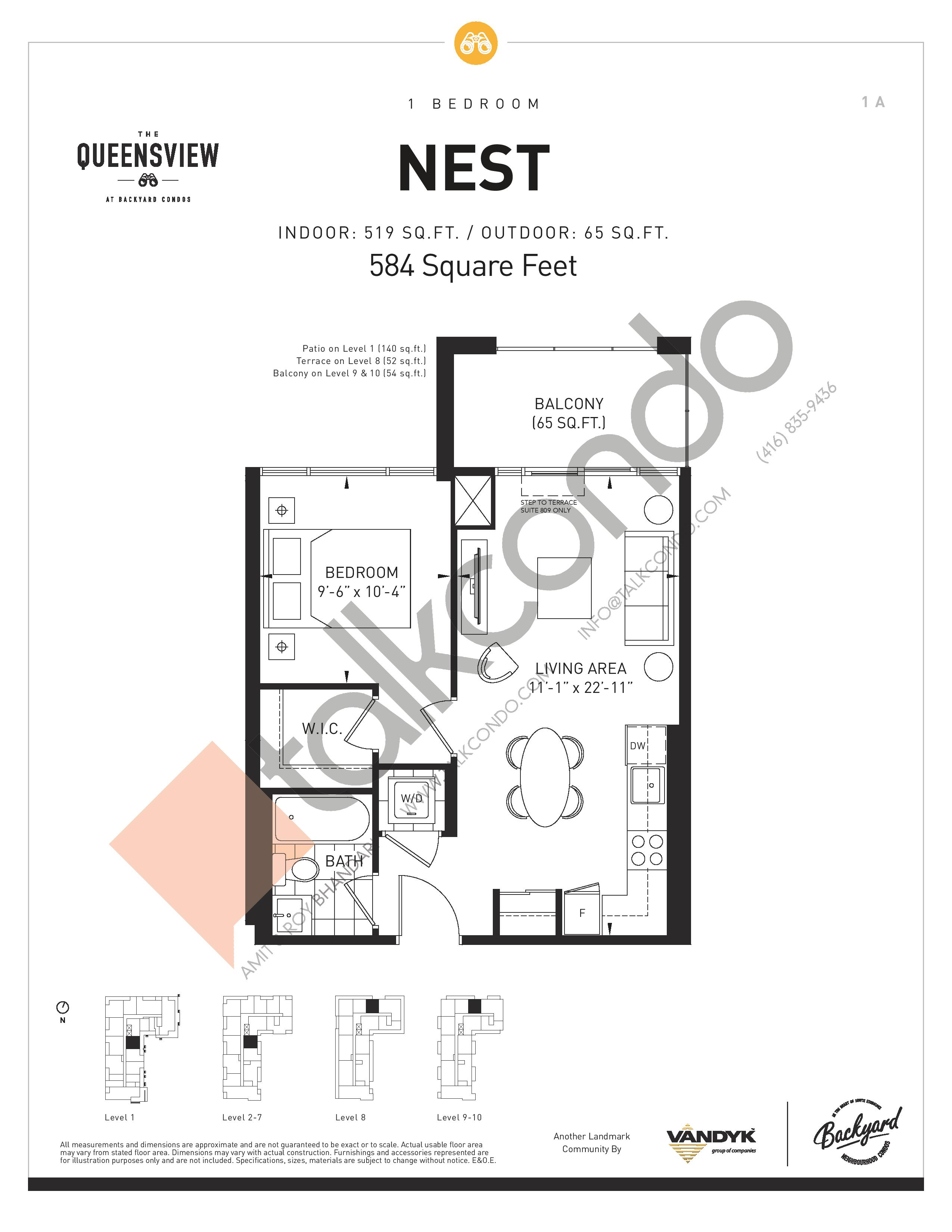 Nest Floor Plan at The Queensview at Backyard Condos - 519 sq.ft