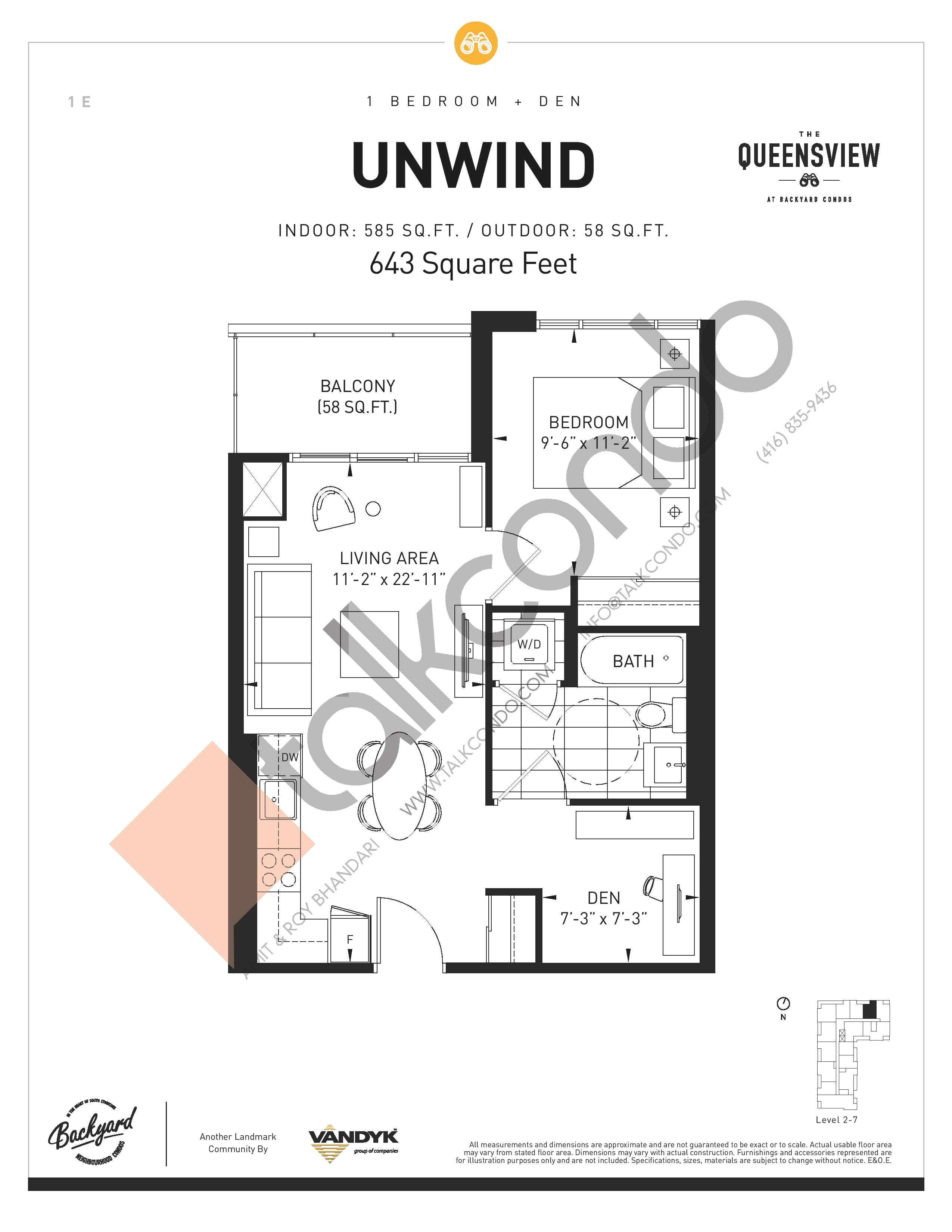 Unwind Floor Plan at The Queensview at Backyard Condos - 585 sq.ft