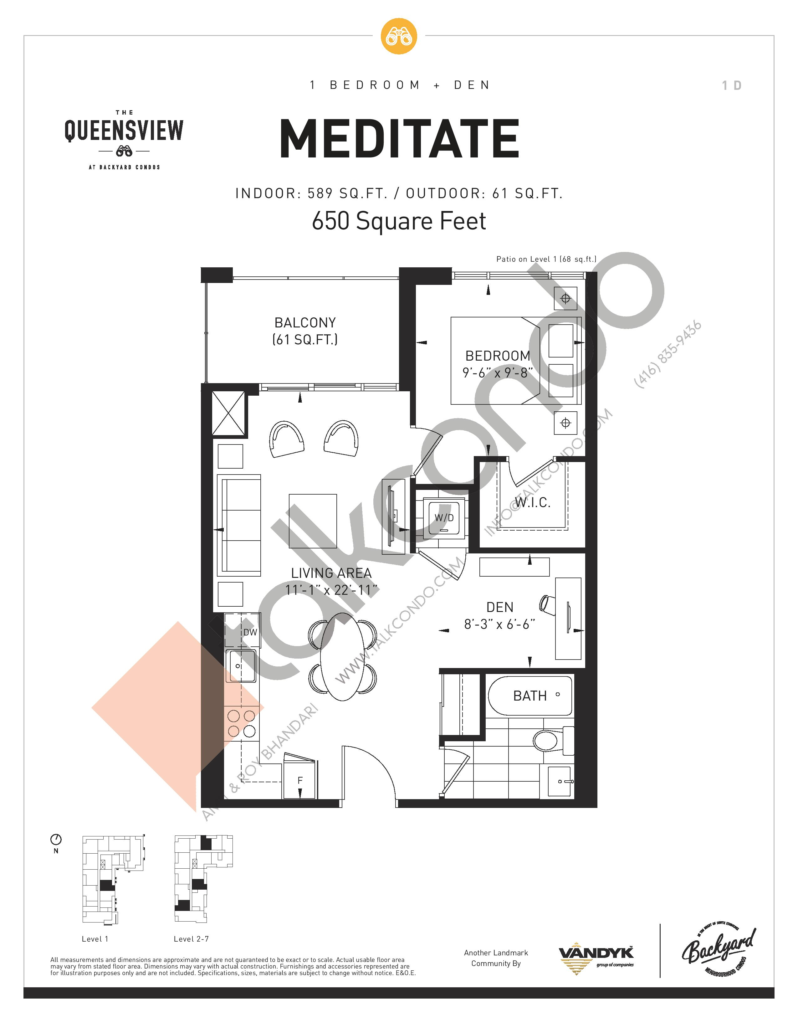 Meditate Floor Plan at The Queensview at Backyard Condos - 589 sq.ft