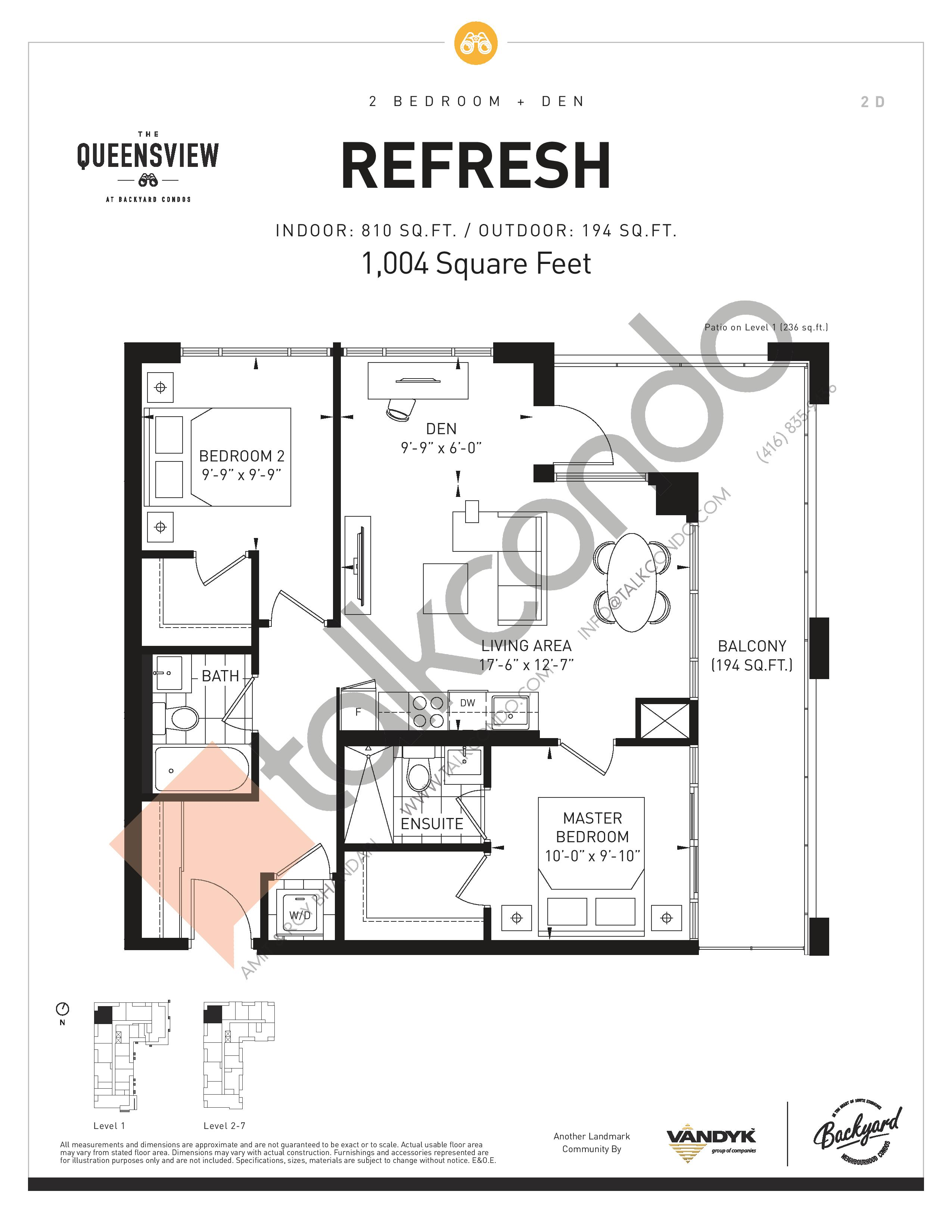 Refresh Floor Plan at The Queensview at Backyard Condos - 810 sq.ft