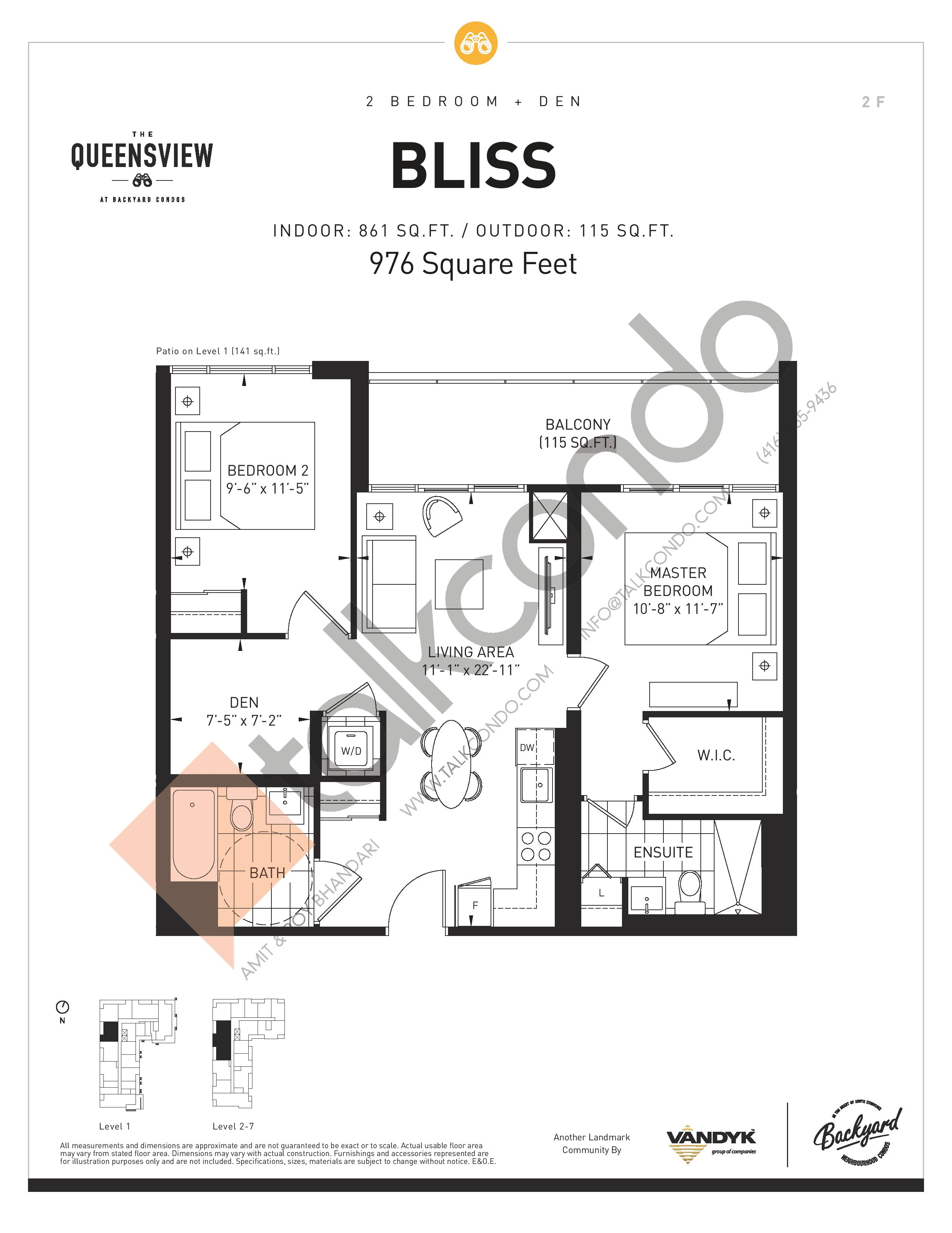 Bliss Floor Plan at The Queensview at Backyard Condos - 861 sq.ft