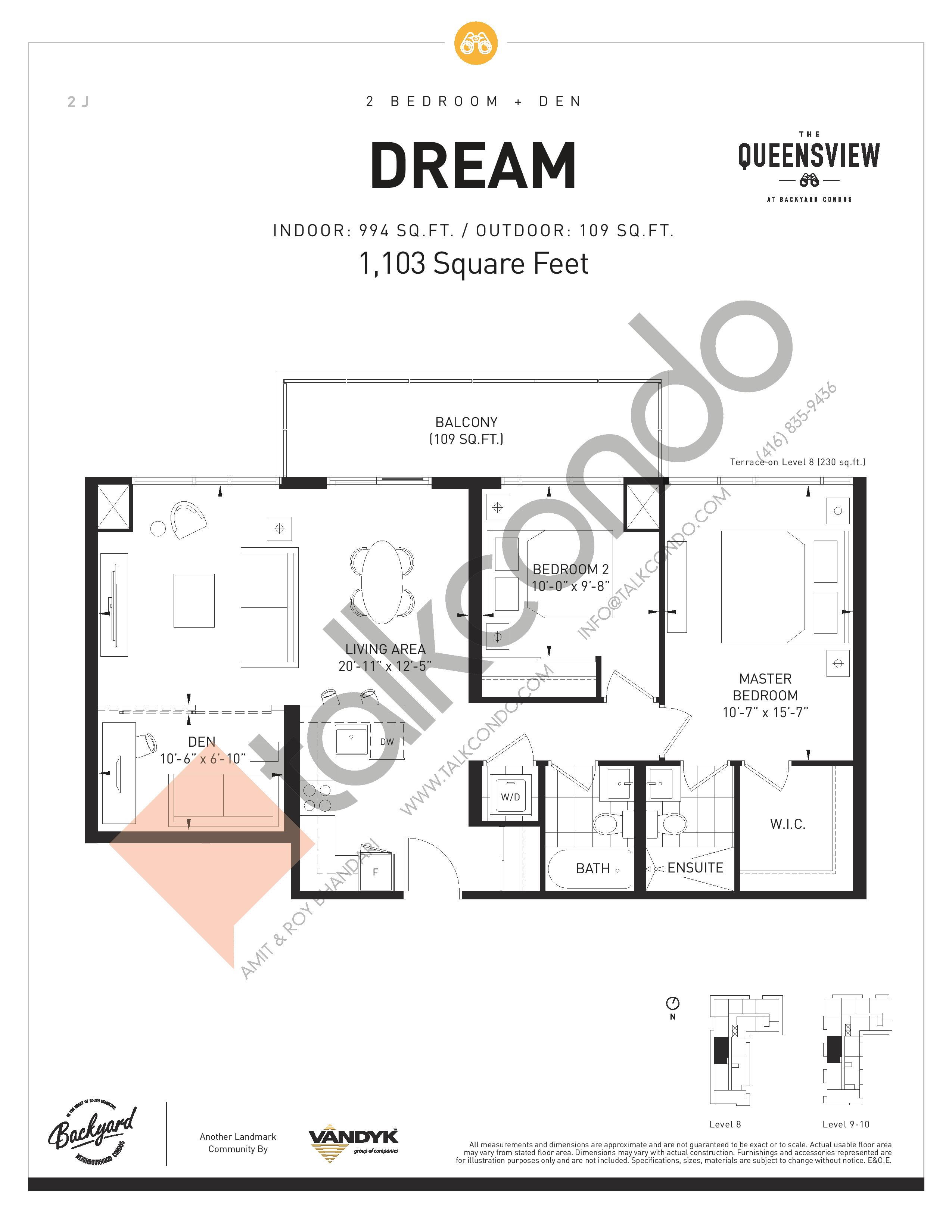 Dream Floor Plan at The Queensview at Backyard Condos - 994 sq.ft