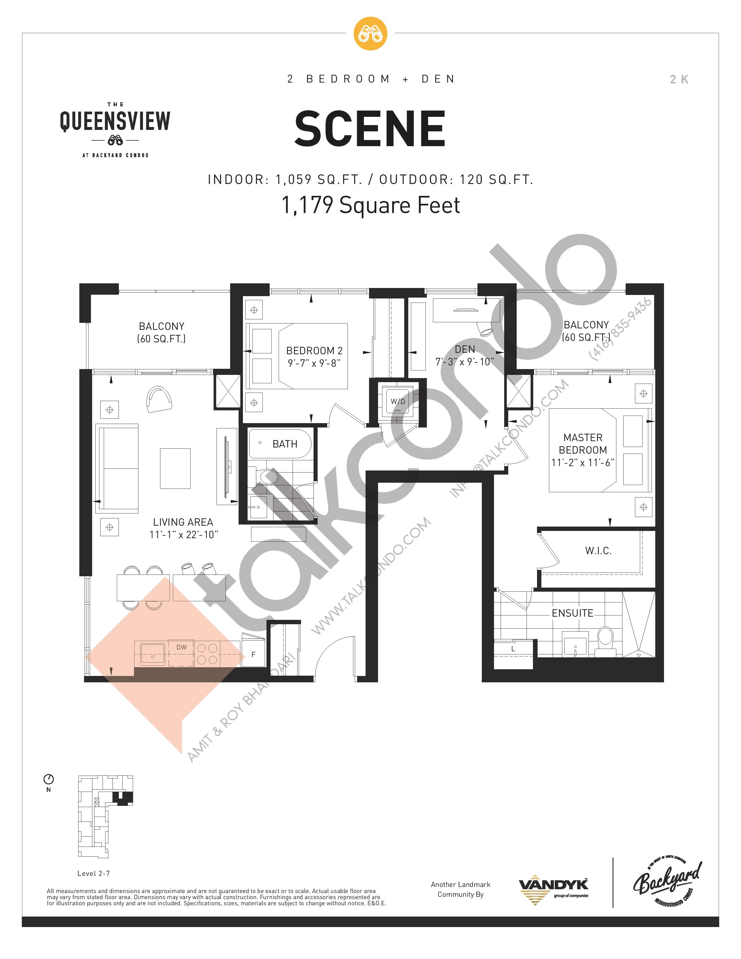 Scene Floor Plan at The Queensview at Backyard Condos - 1059 sq.ft