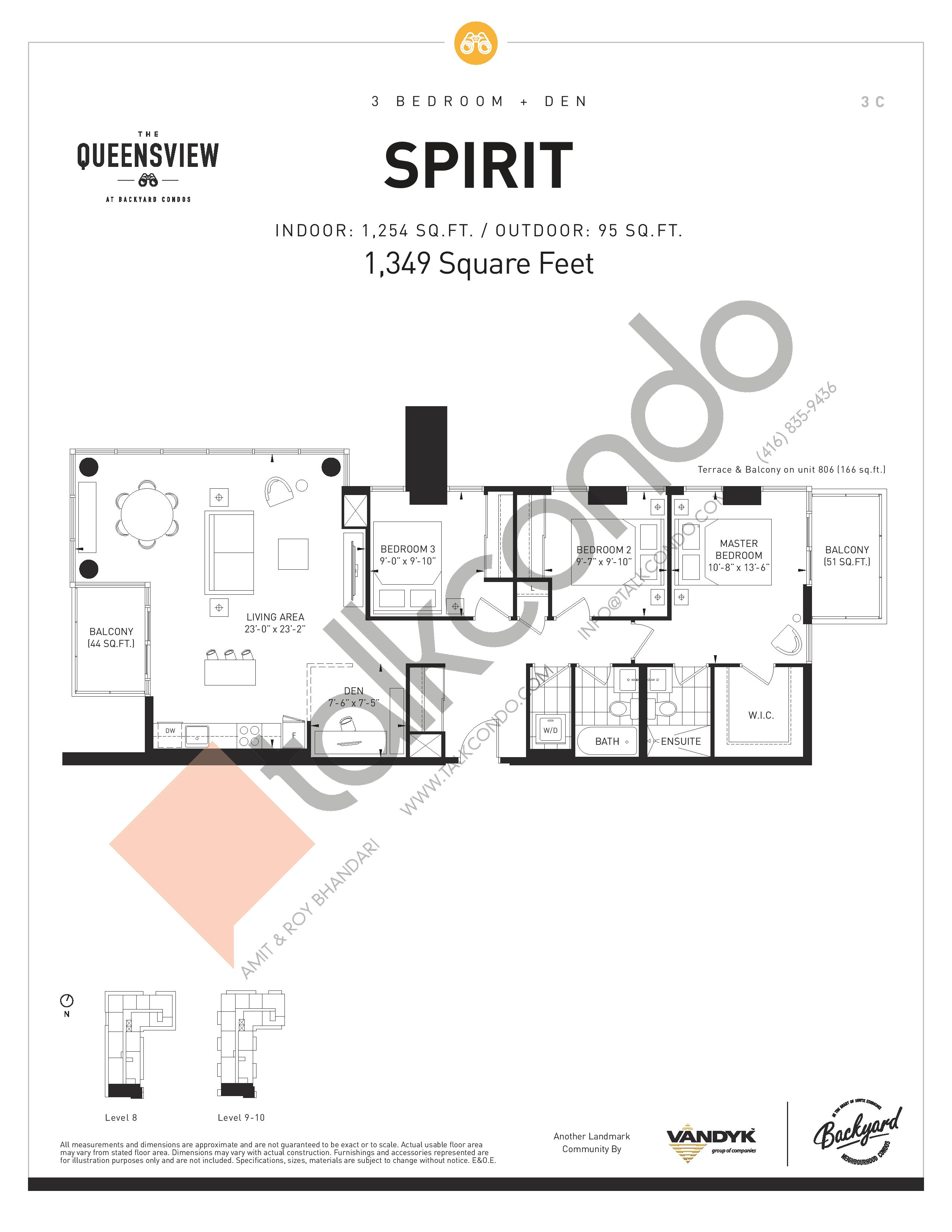 Spirit Floor Plan at The Queensview at Backyard Condos - 1254 sq.ft
