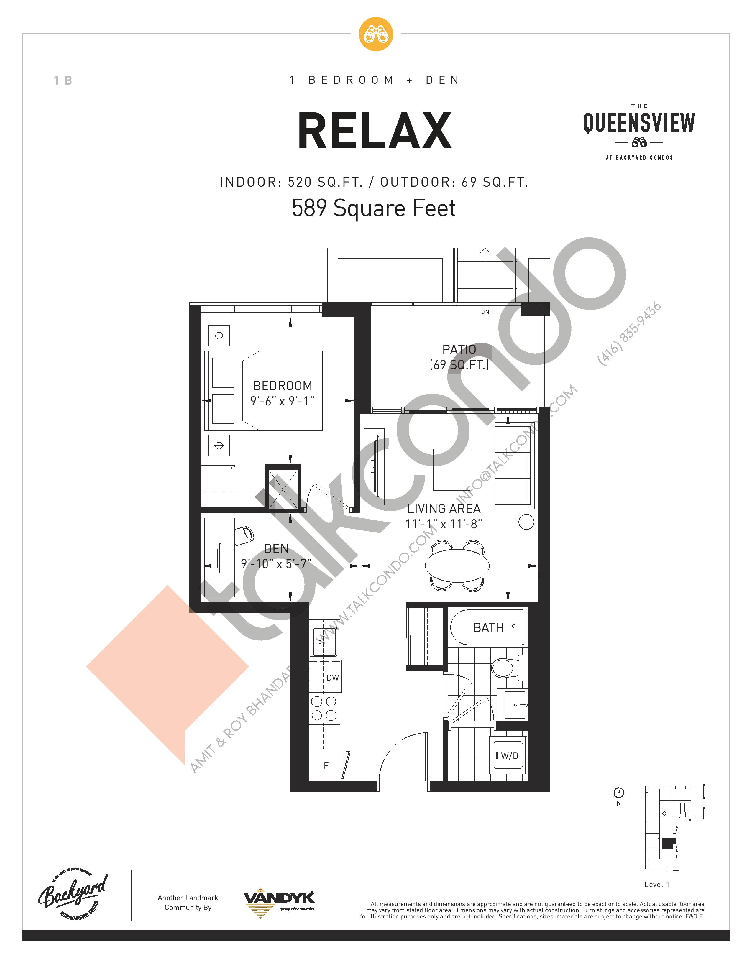 Relax Floor Plan at The Queensview at Backyard Condos - 520 sq.ft
