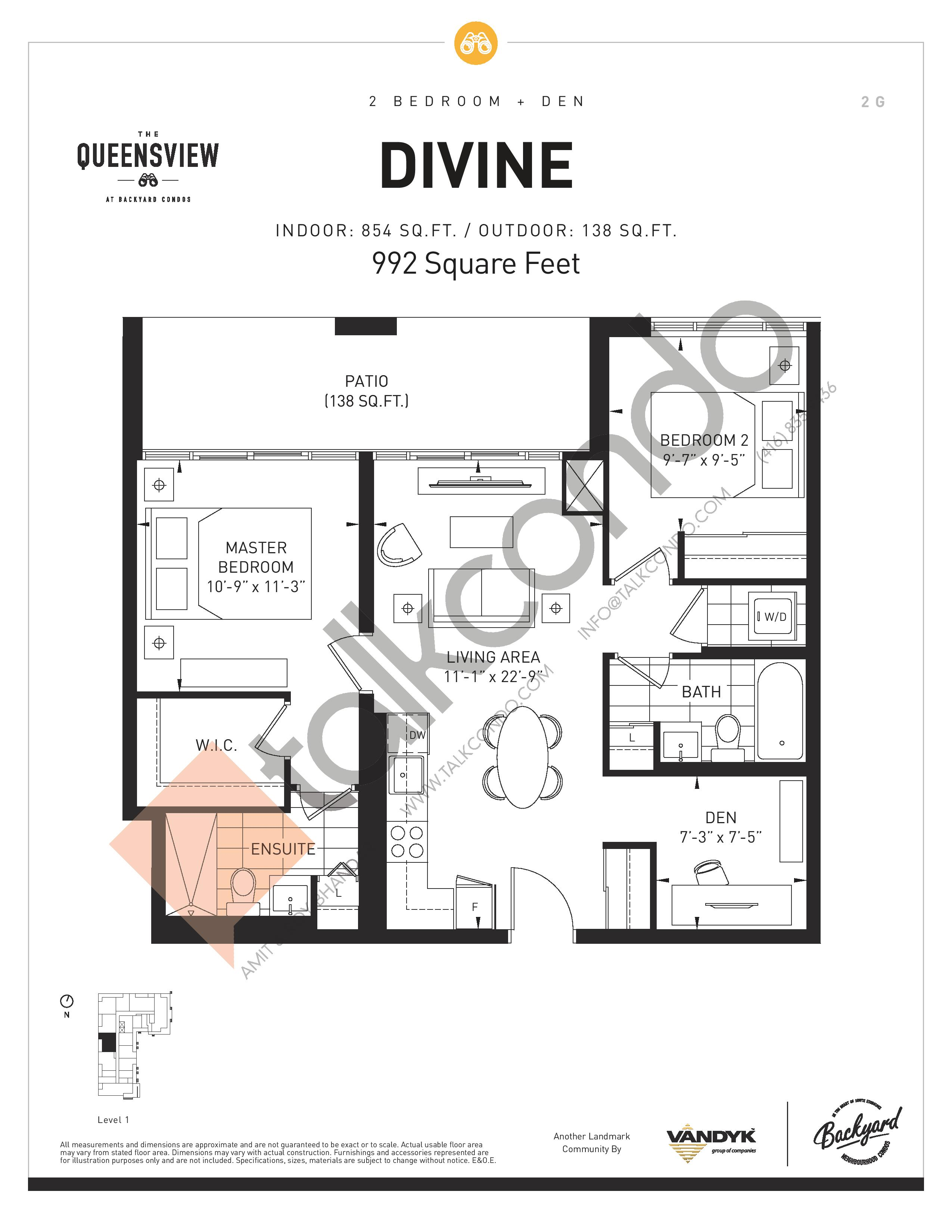 Divine Floor Plan at The Queensview at Backyard Condos - 854 sq.ft