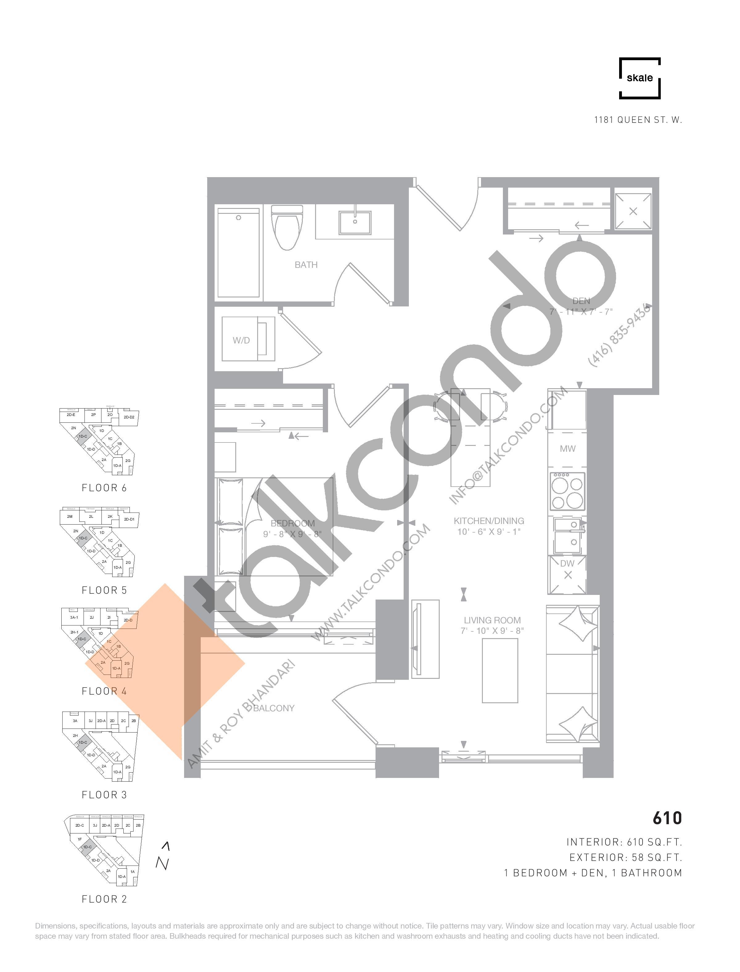 610 Floor Plan at 1181 Queen West Condos - 610 sq.ft