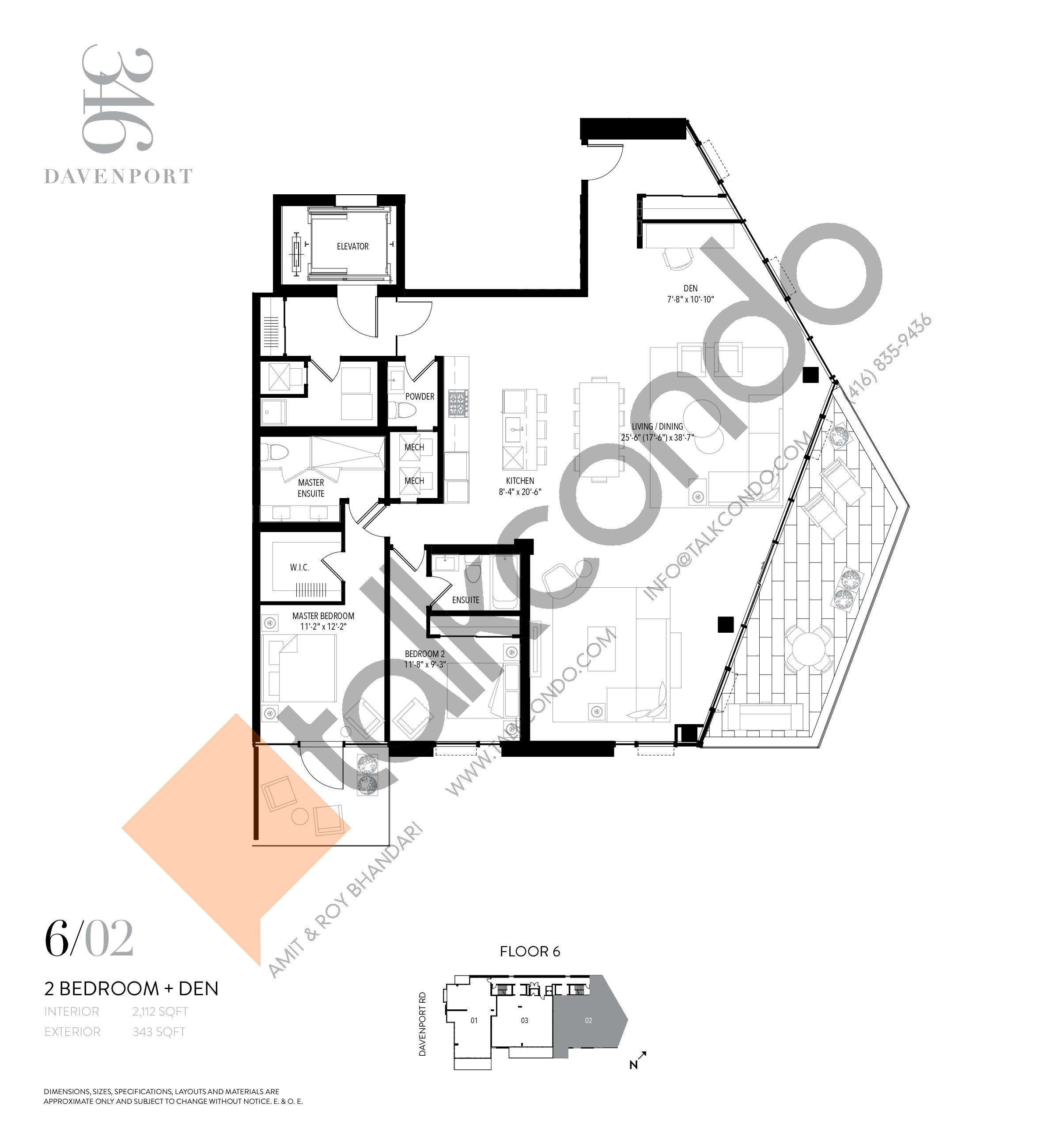 Unit 602 Floor Plan at 346 Davenport Condos - 2112 sq.ft