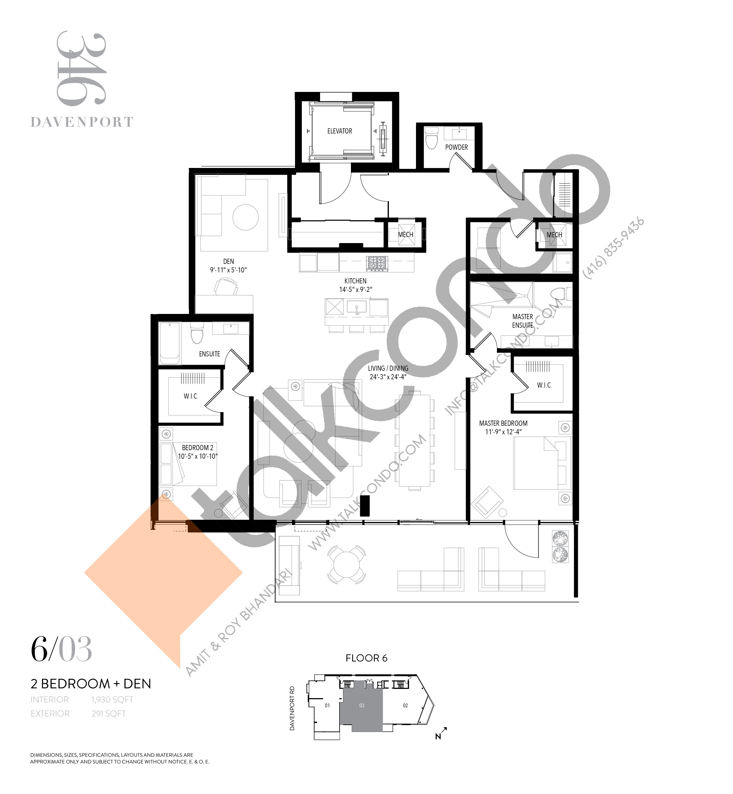 Unit 603 Floor Plan at 346 Davenport Condos - 1930 sq.ft