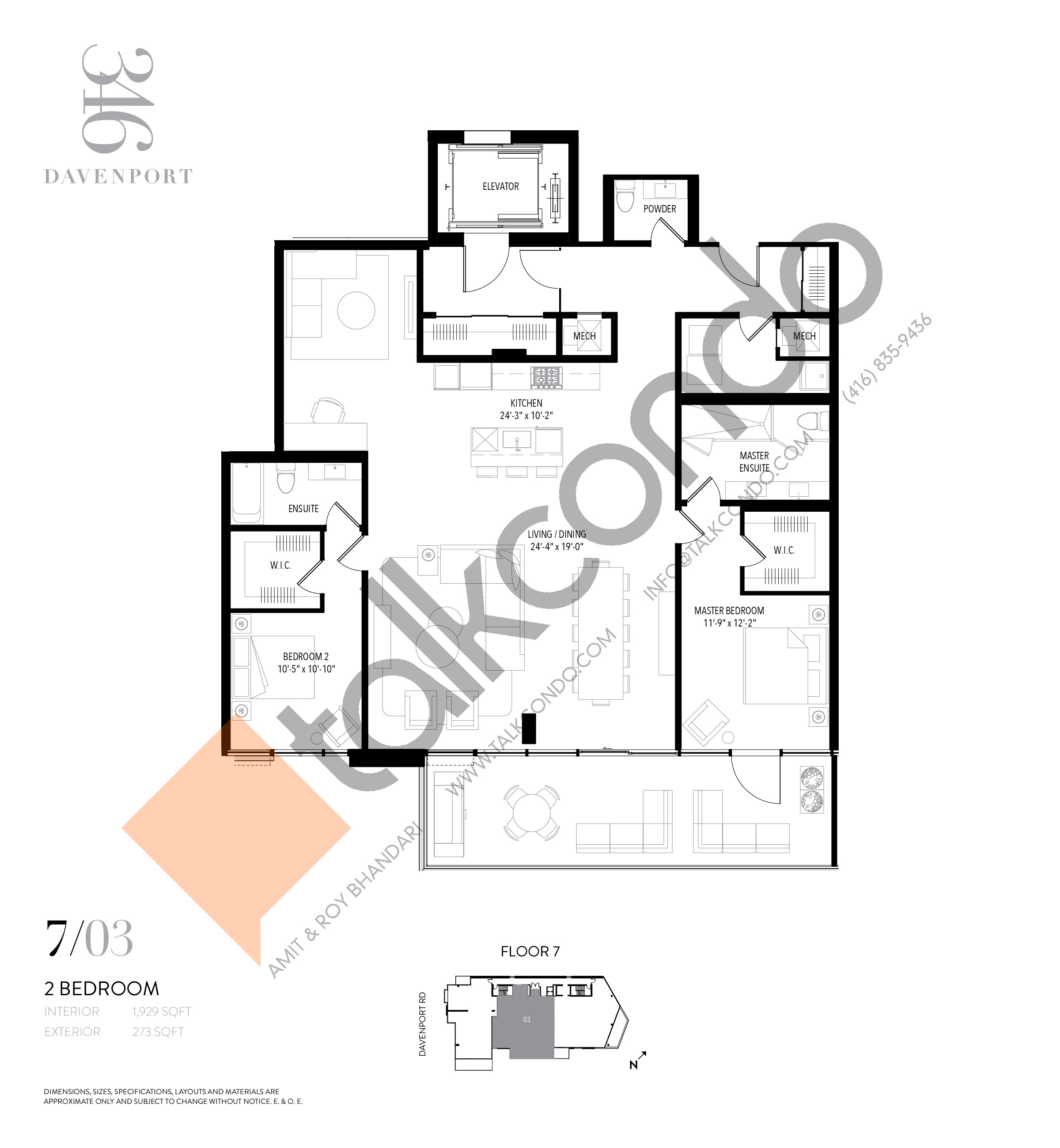 Unit 703 Floor Plan at 346 Davenport Condos - 1929 sq.ft