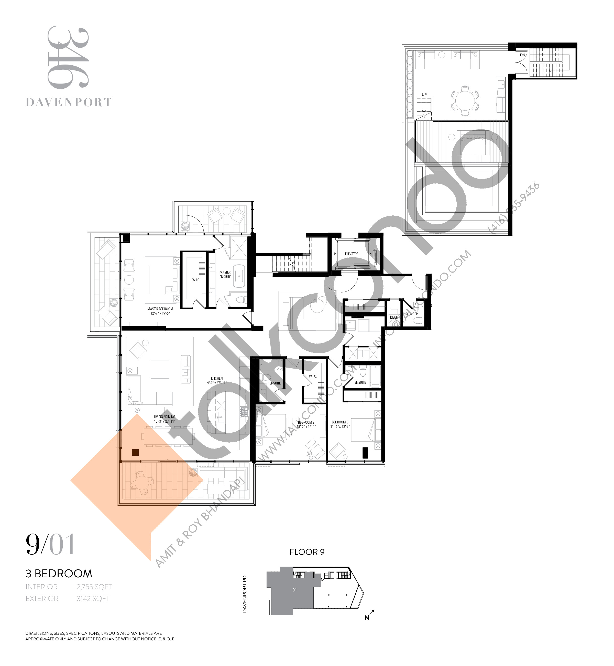 Unit 901 Floor Plan at 346 Davenport Condos - 2755 sq.ft