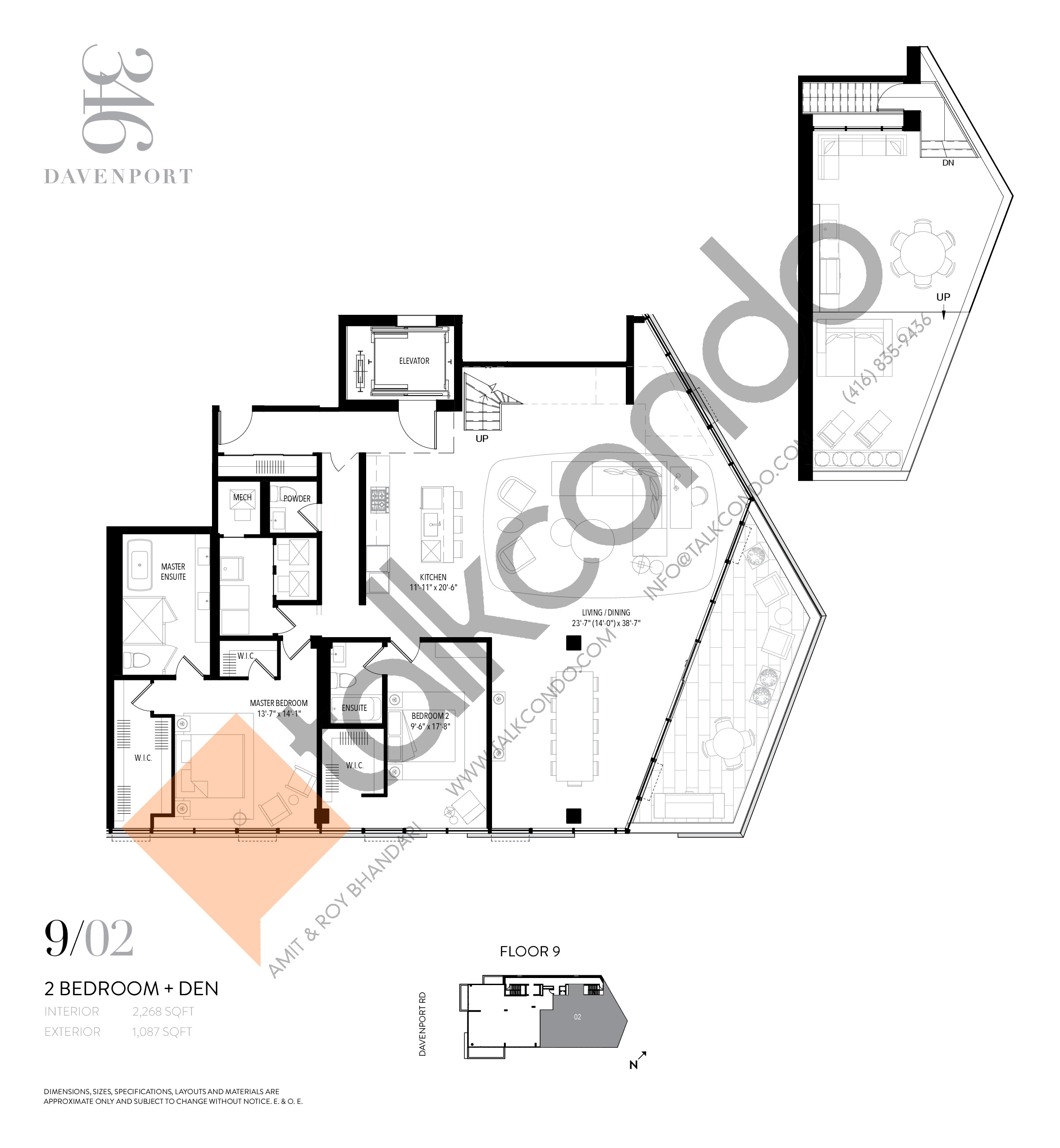 Unit 902 Floor Plan at 346 Davenport Condos - 2268 sq.ft