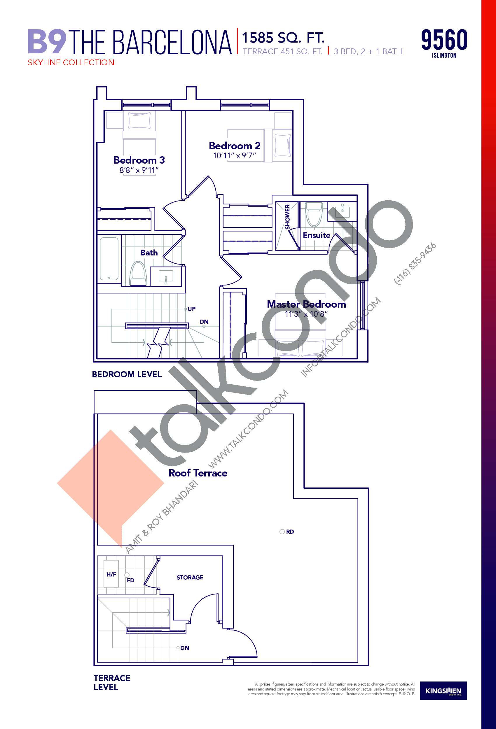 B9 The Barcelona - Skyline Collection (2/2) Floor Plan at Capital City Towns - 1585 sq.ft