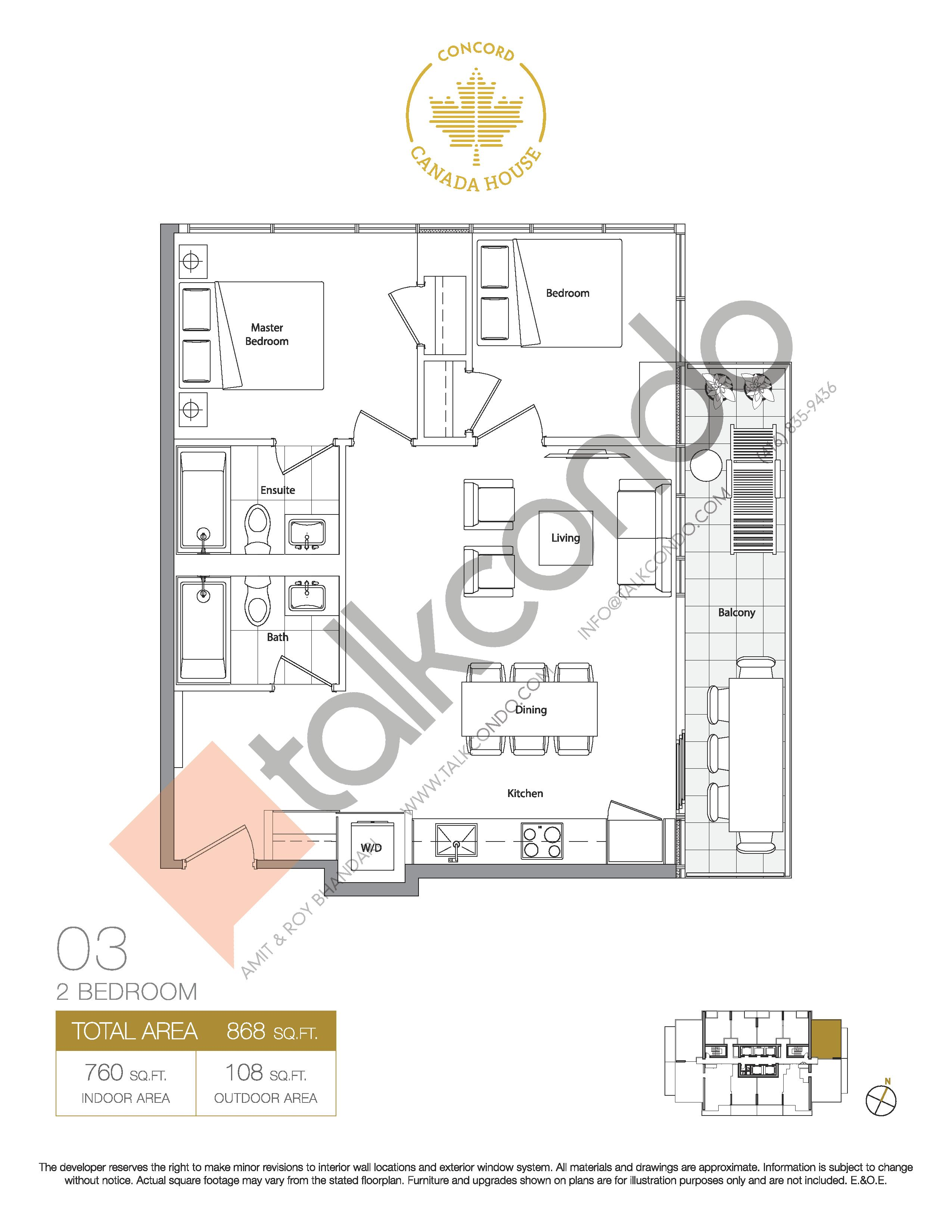 03 - East Tower Floor Plan at Concord Canada House Condos - 760 sq.ft