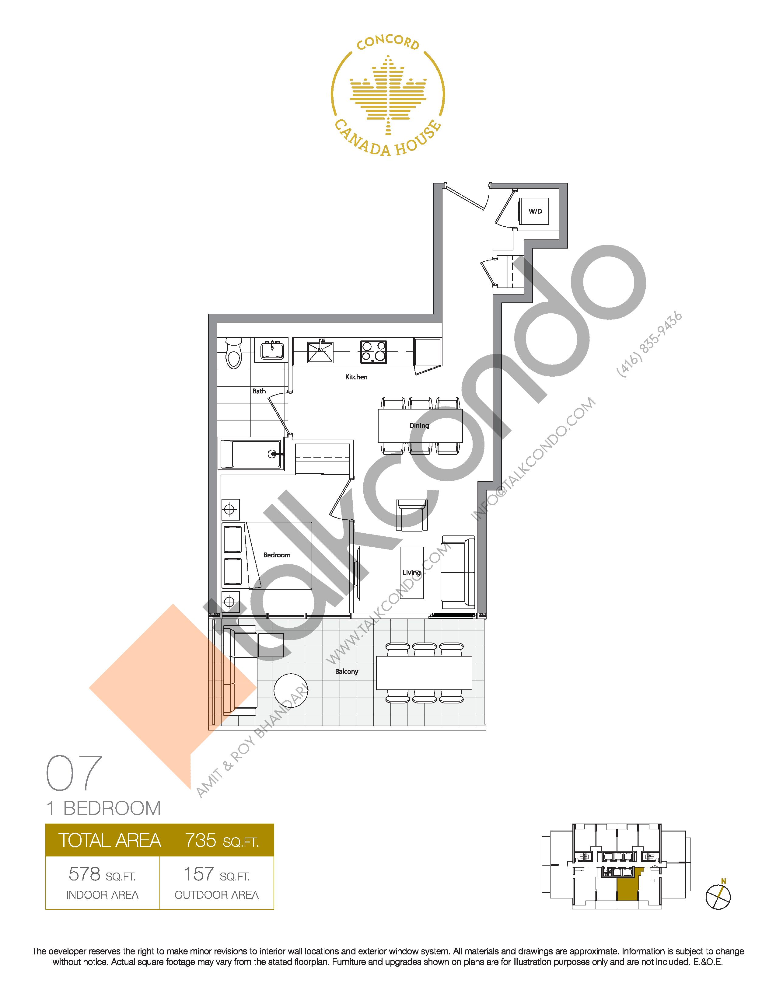 07 - East Tower Floor Plan at Concord Canada House Condos - 578 sq.ft