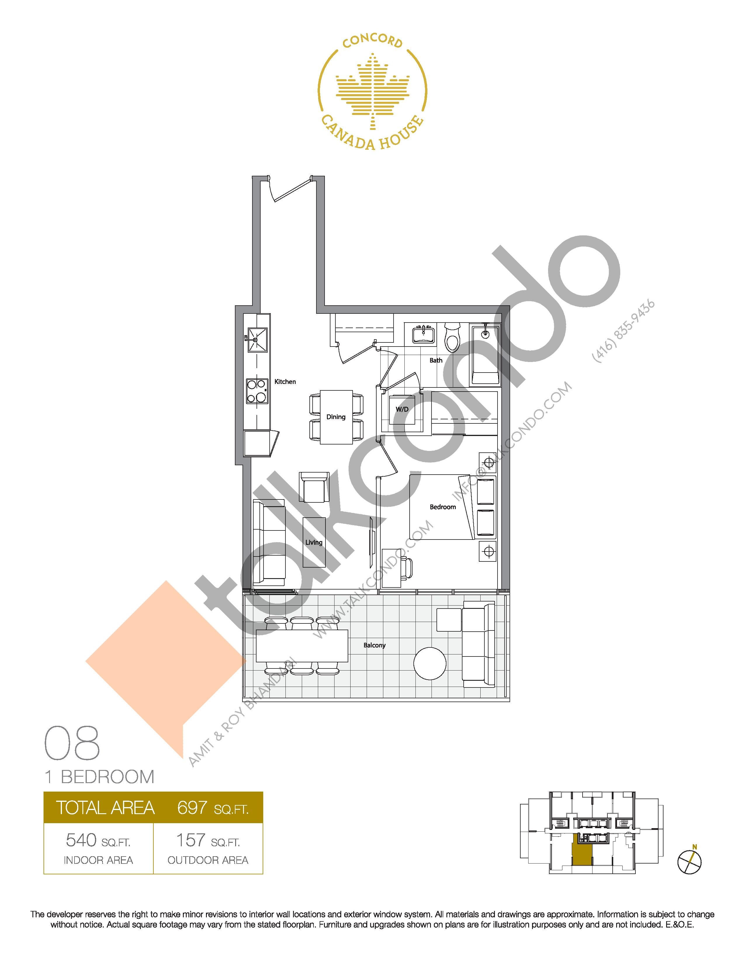 08 - East Tower Floor Plan at Concord Canada House Condos - 540 sq.ft