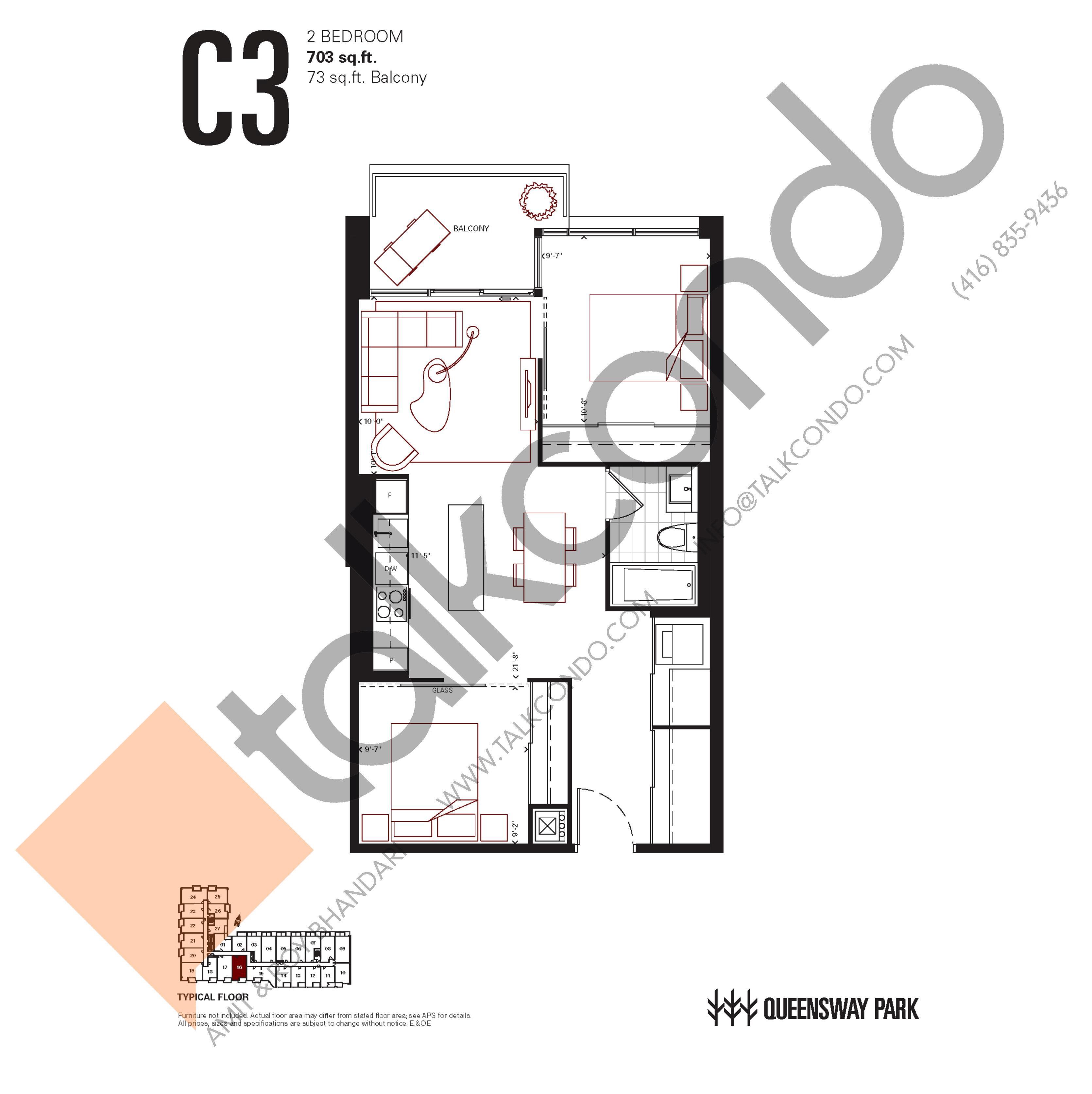 C3 Floor Plan at Queensway Park Condos - 703 sq.ft