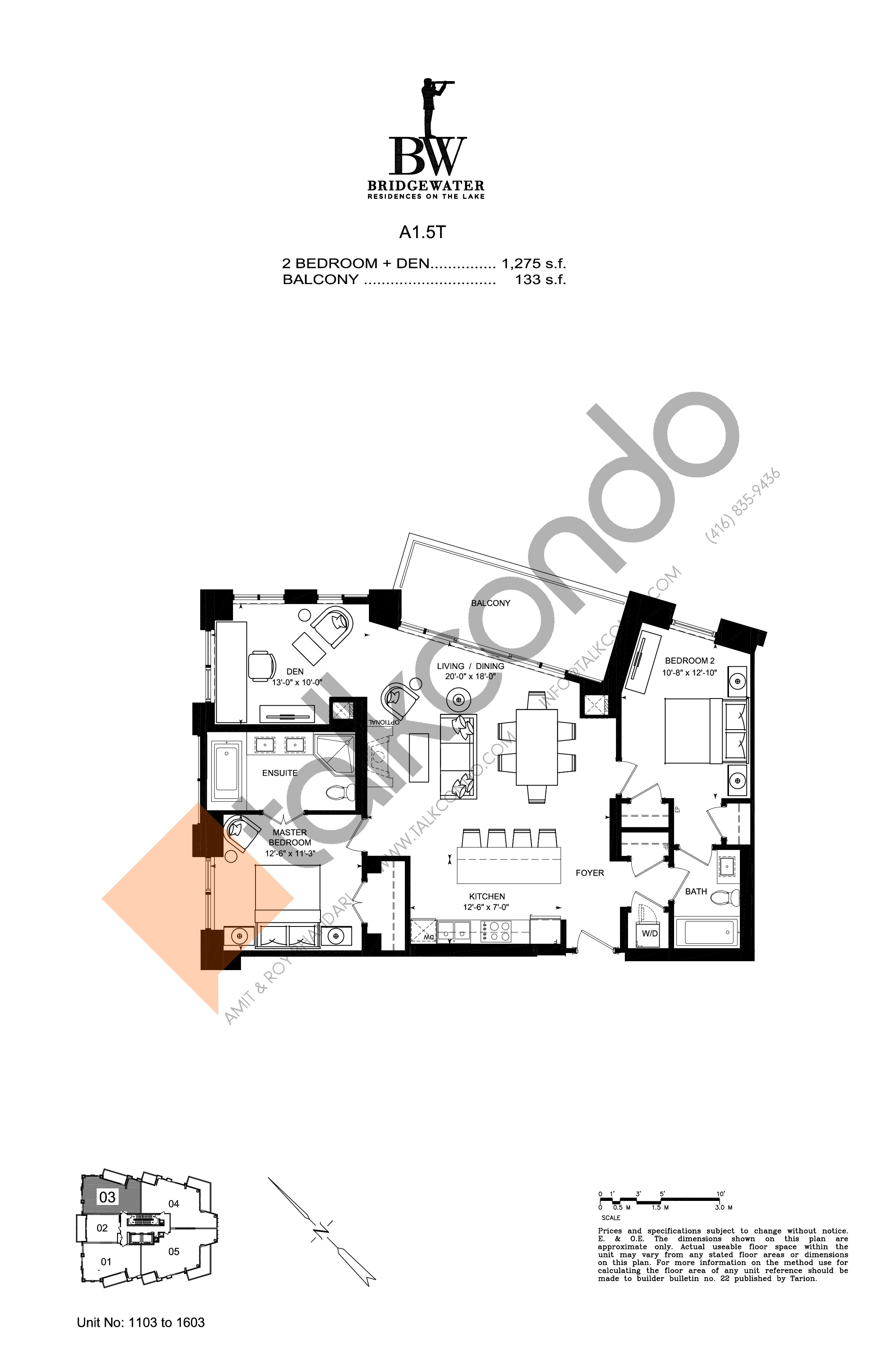 Unit 1103 to 1603 Floor Plan at Bridgewater Residences on the Lake Condos - 1275 sq.ft
