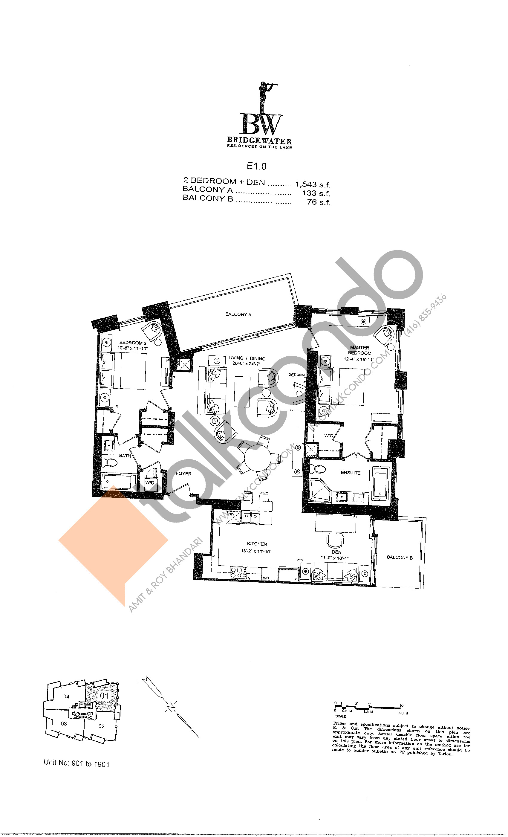 Unit 901 to 1901 Floor Plan at Bridgewater Residences on the Lake Condos - 1543 sq.ft