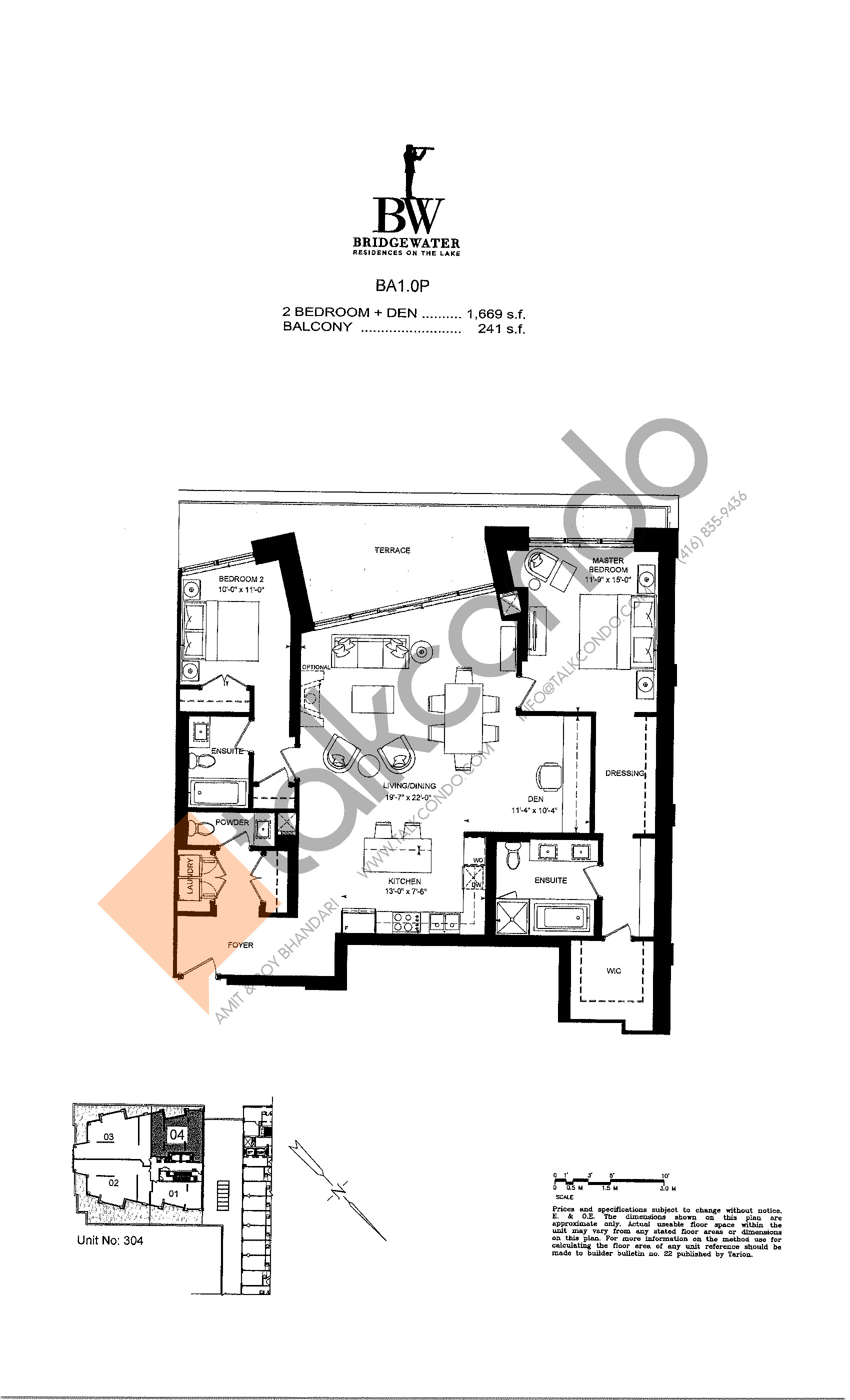 Unit 304 Floor Plan at Bridgewater Residences on the Lake Condos - 1669 sq.ft